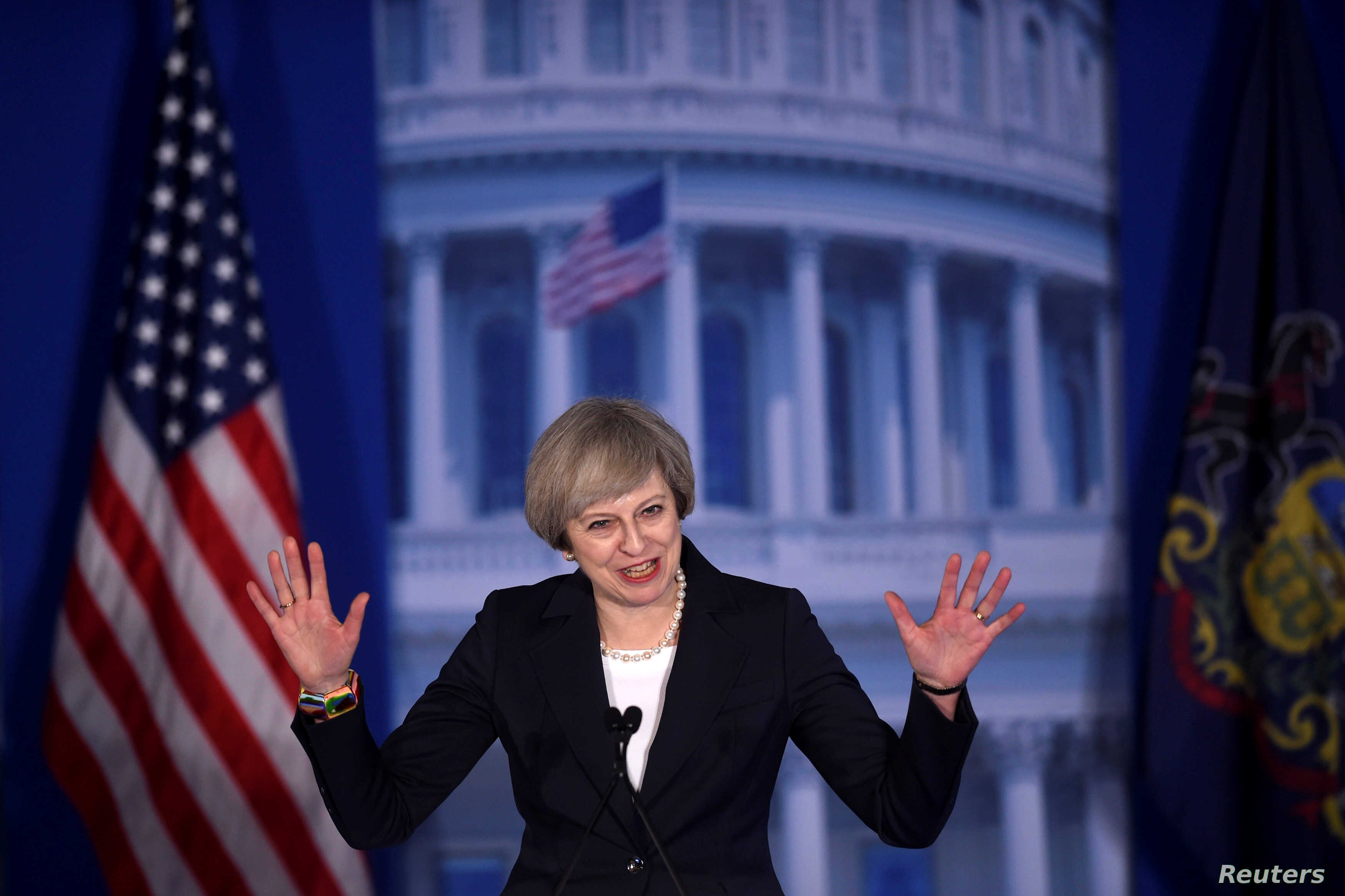 """Britain's Prime Minister Teresa May addressed the 2017 """"Congress of Tomorrow"""" Joint Republican Issues Conference in Philadelphia, Jan. 26, 2017."""