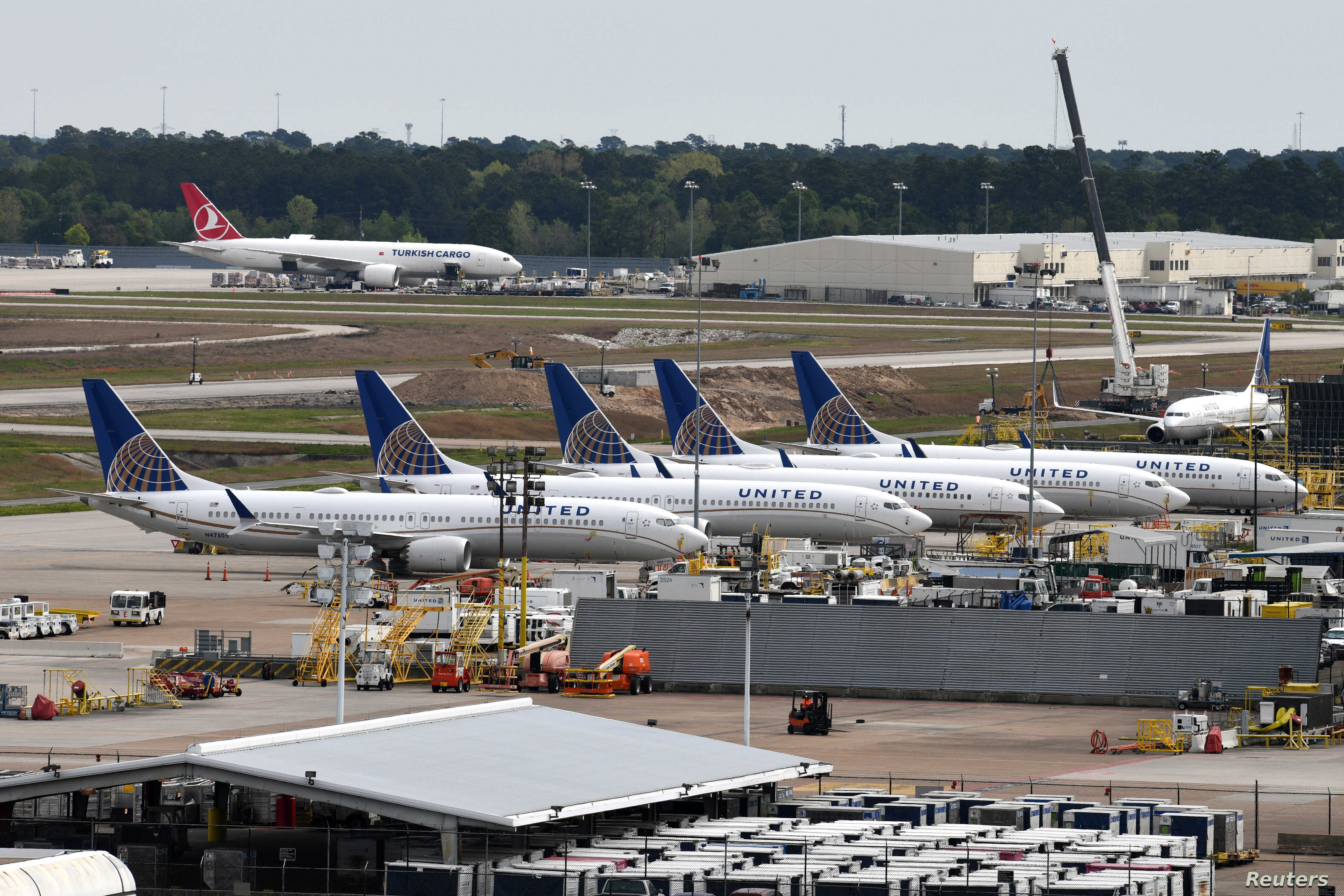 United Airlines planes, including a Boeing 737 MAX 9 model, are pictured at George Bush Intercontinental Airport in Houston, Texas, March 18, 2019.