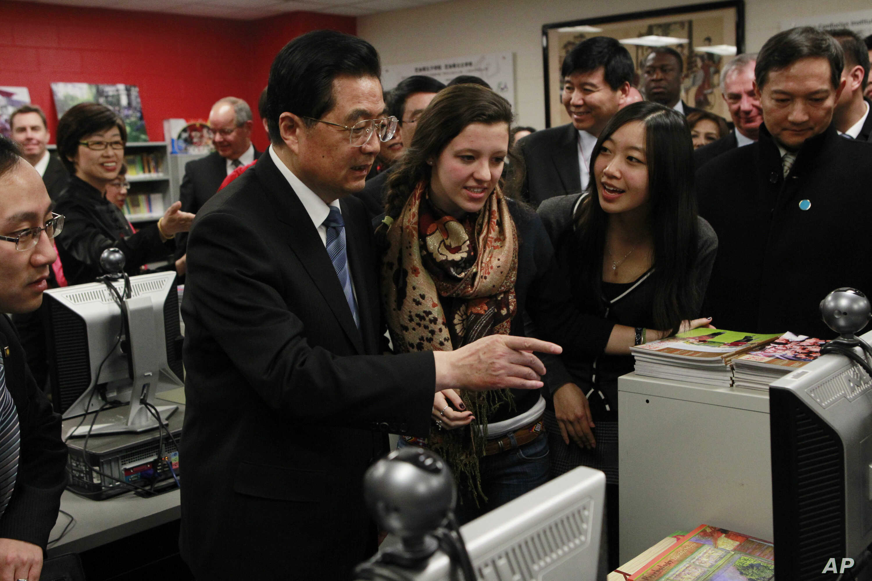 On Jan. 21, 2011, then-Chinese President Hu Jintao visits the The Confucius Institute which is housed at Walter Payton College Preparatory High School in Chicago, Jan. 21, 2011.