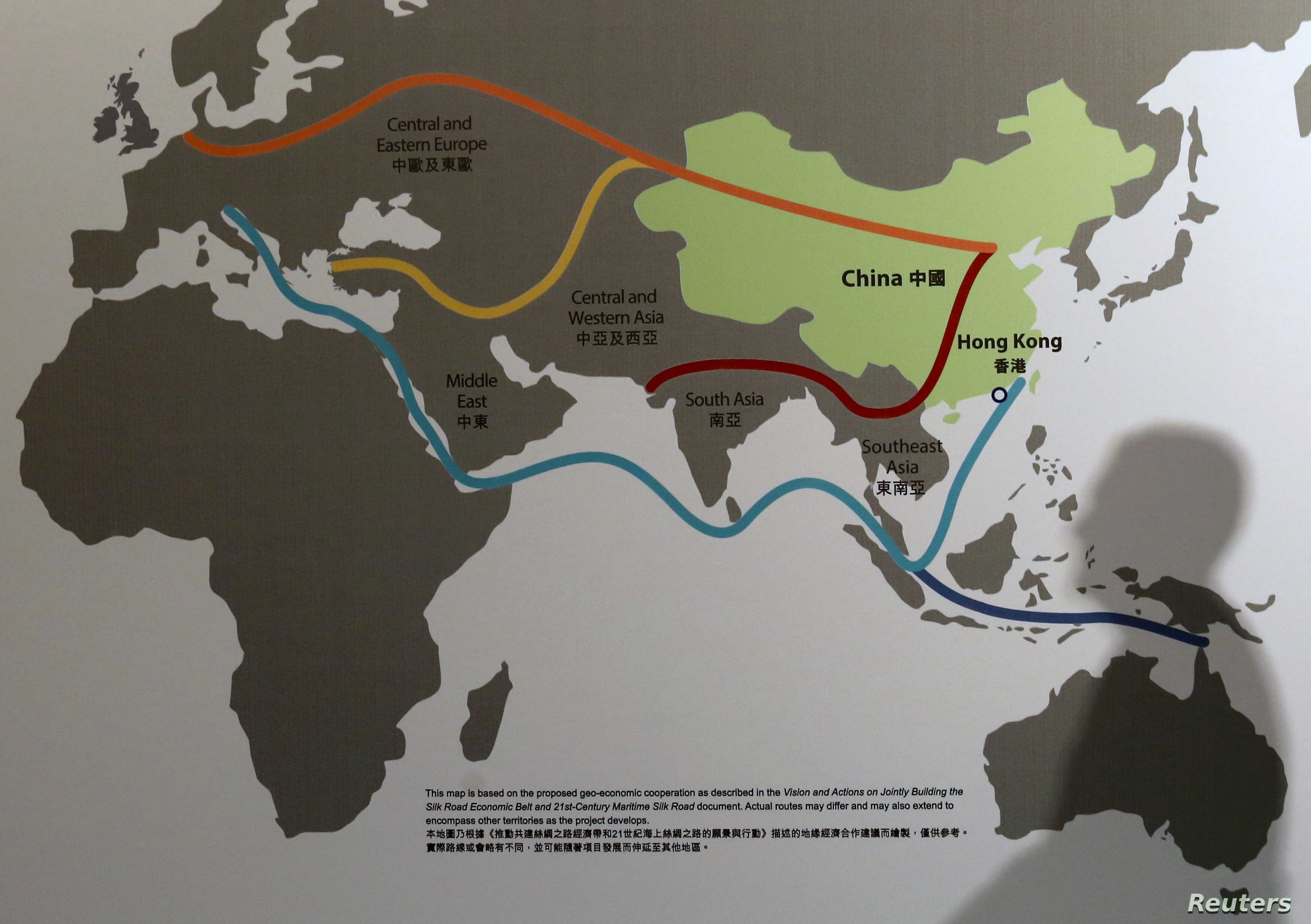"Map illustrating China's ""One Belt, One Road"" megaproject at the Asian Financial Forum in Hong Kong, Jan. 18, 2016."