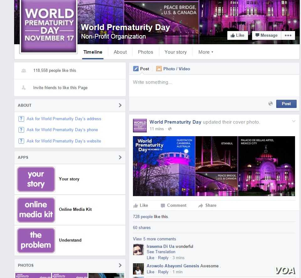 The Facebook page for World Prematurity Day.