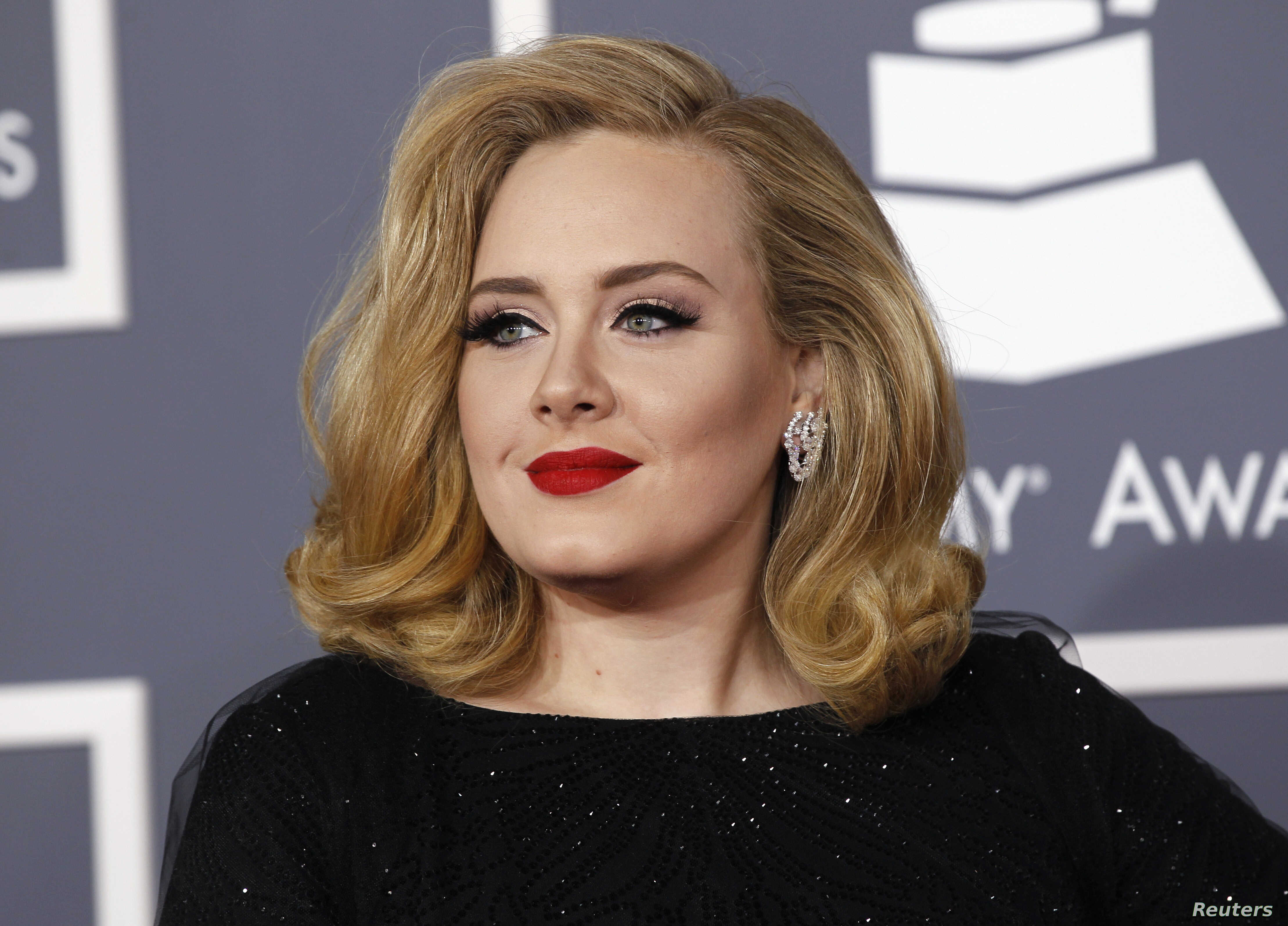 British singer Adele arrives at the 54th annual Grammy Awards in Los Angeles, Calif. Feb. 12, 2012.