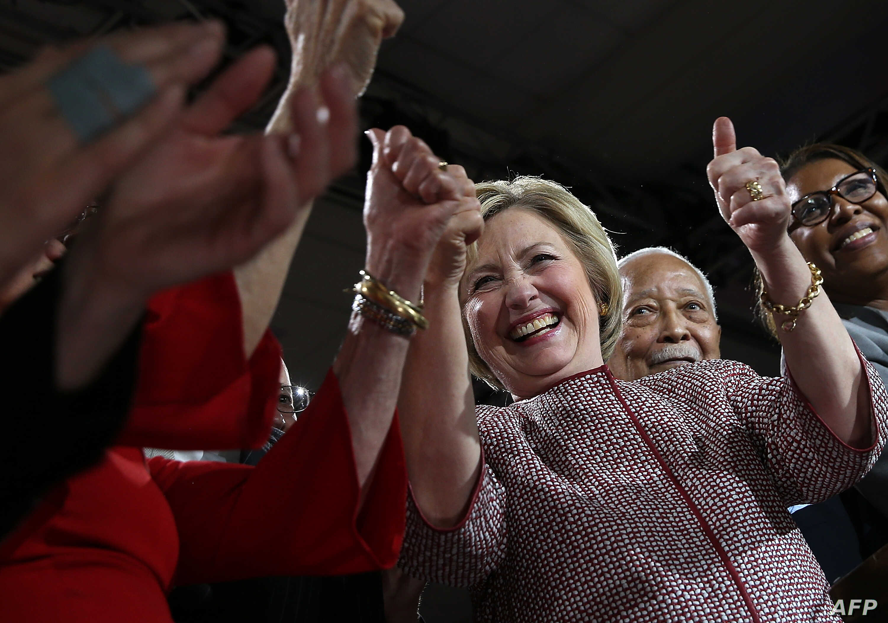 Democratic presidential candidate former Secretary of State Hillary Clinton greets supporters during a primary election night gathering on April 19, 2016 in New York City