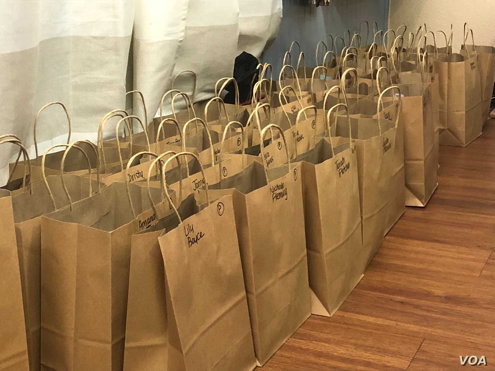 A week's worth of online orders are ready for pickup at ASK Apparel's Arkansas brick-and-mortar store in Heber Springs, Oct. 12, 2018.