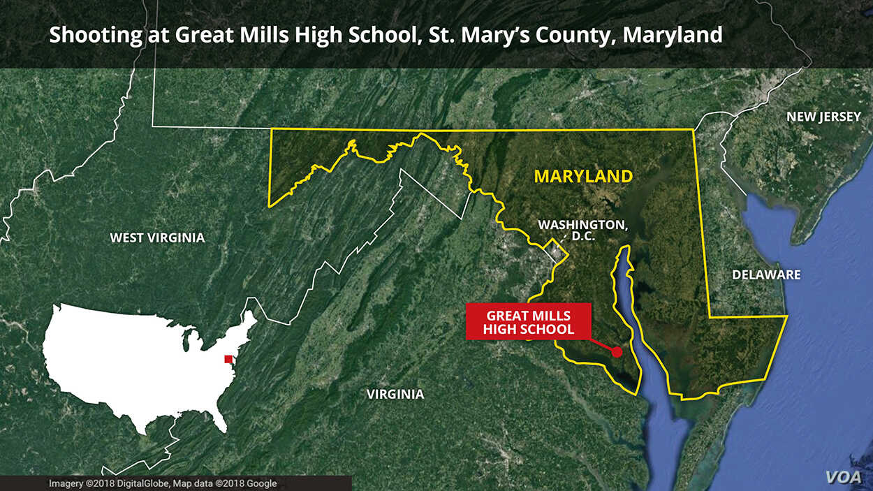 Locator map for Great Mills High School