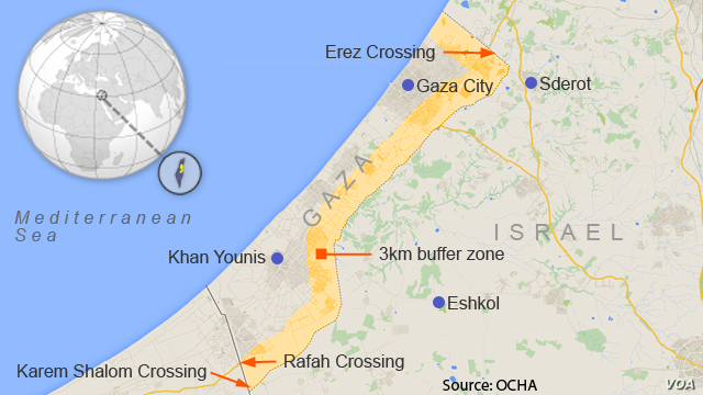 Three kilometer buffer zone in the Gaza Strip that the Israeli army has designated a no-go zone.