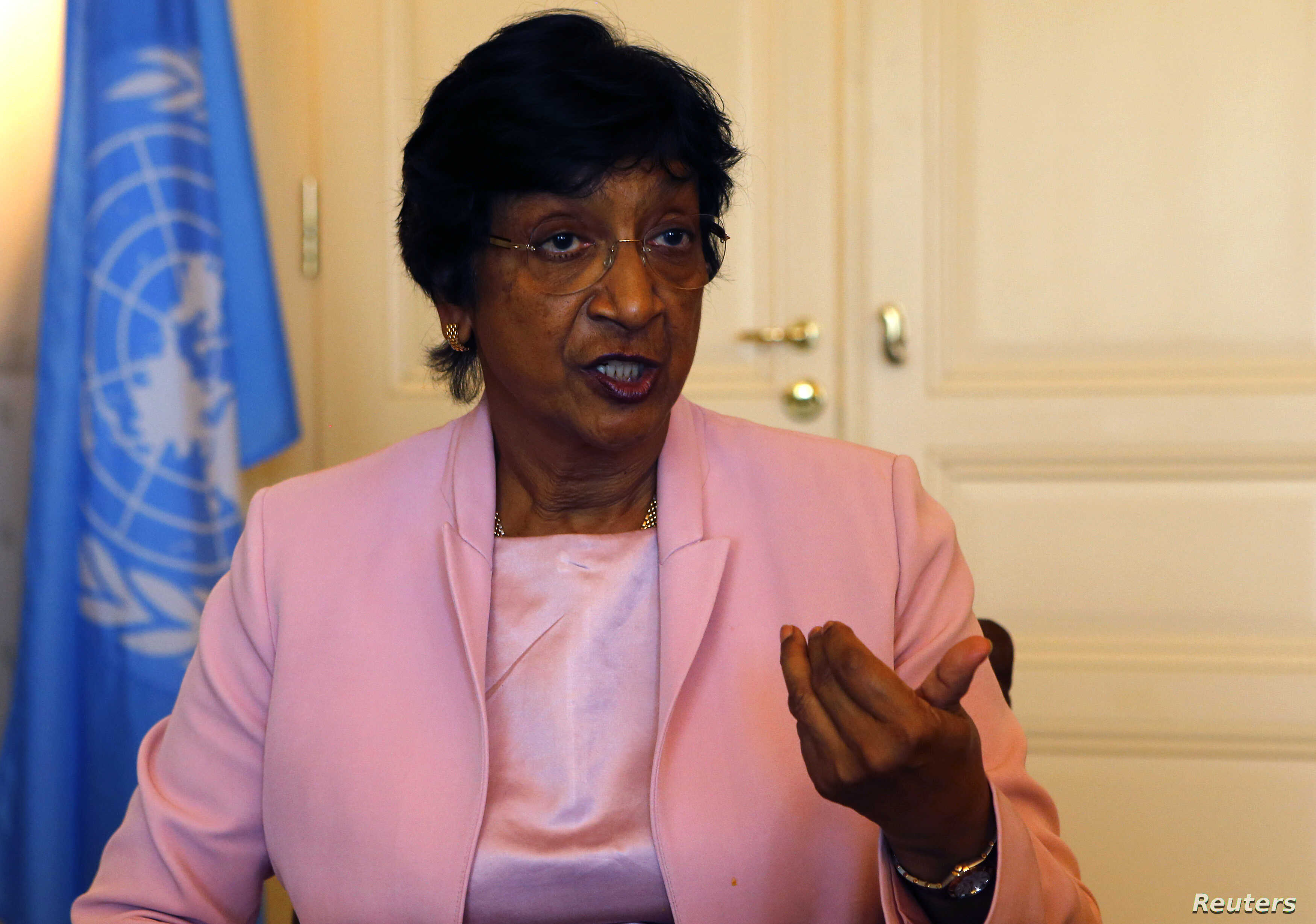 Outgoing U.N. Human Rights Commissioner Navi Pillay talks during an interview to Reuters in her office in Geneva, Aug. 19, 2014.