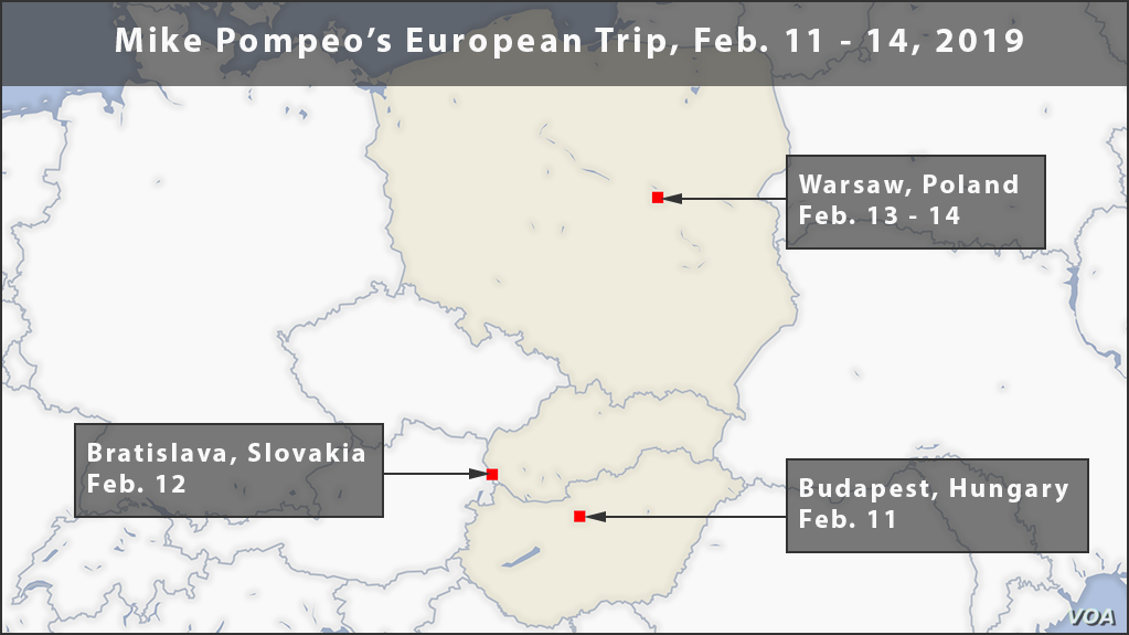 Map of Pompeo's trip to Europe