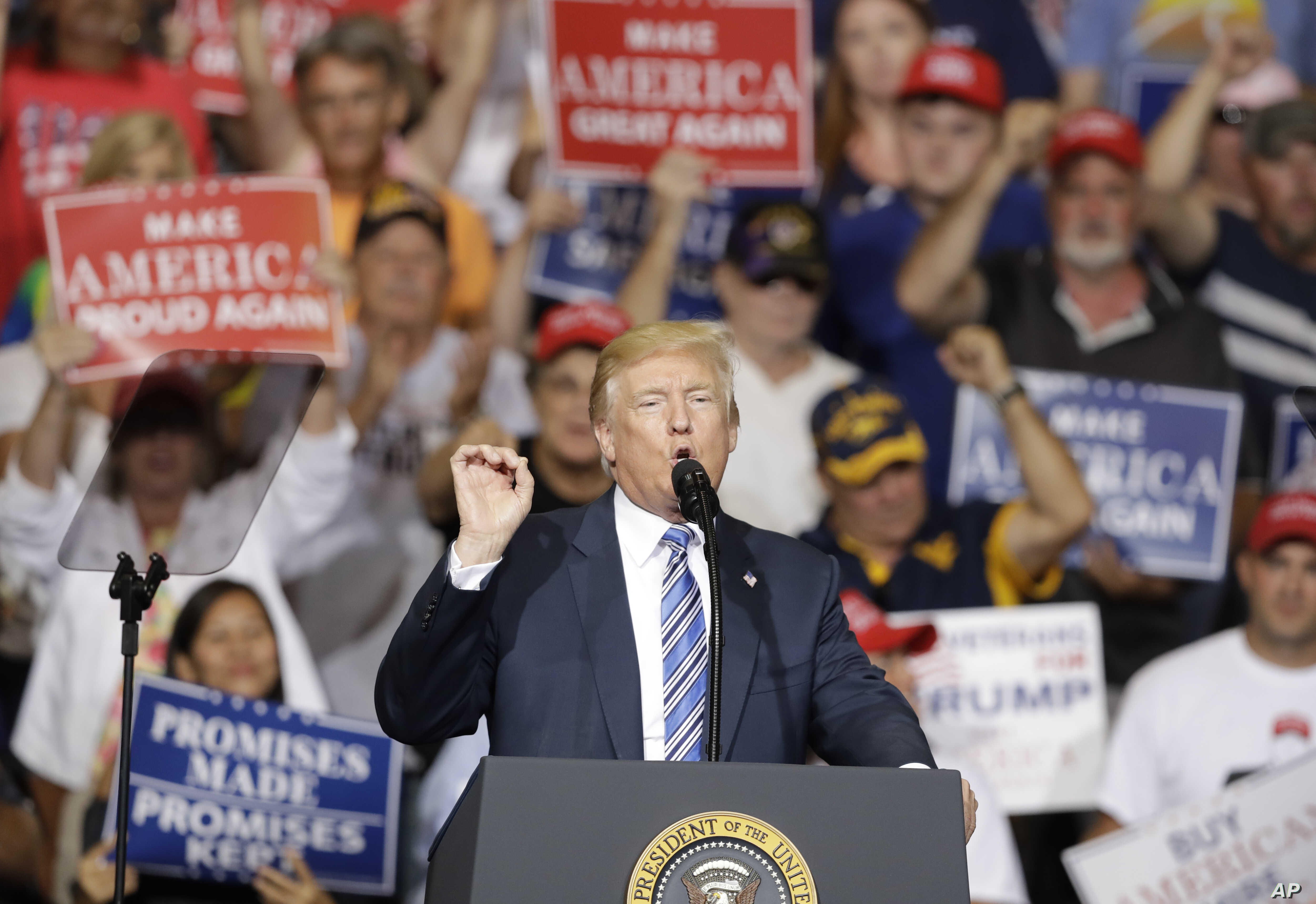 President Donald Trump speaks during a rally in Huntington, W.Va., Aug. 3, 2017.