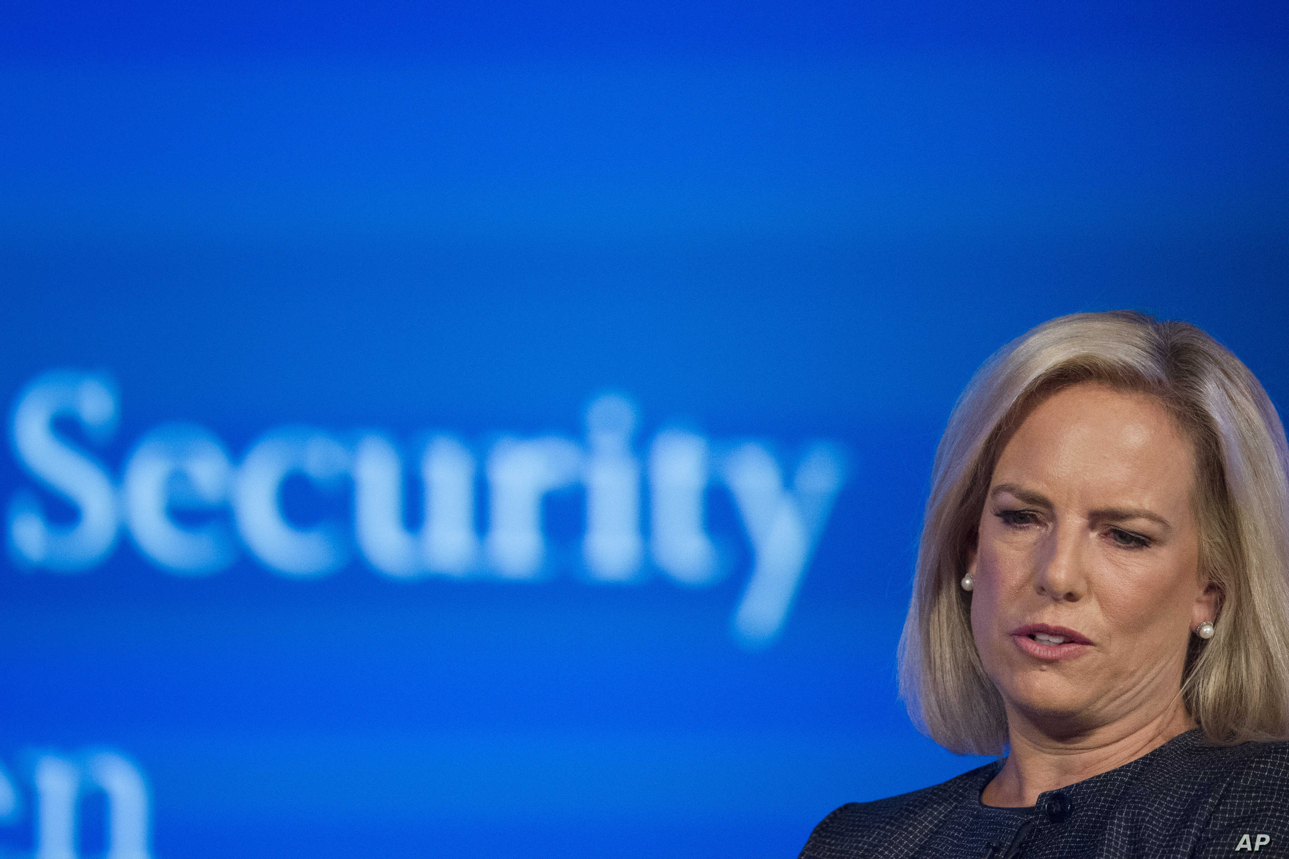 Secretary of Homeland Security Kirstjen Nielsen speaks to George Washington University's Center for Cyber and Homeland Security, in Washington, Sept. 5, 2018. Nielsen lays out her vision for the sprawling department, as midterm elections loom amid pe...