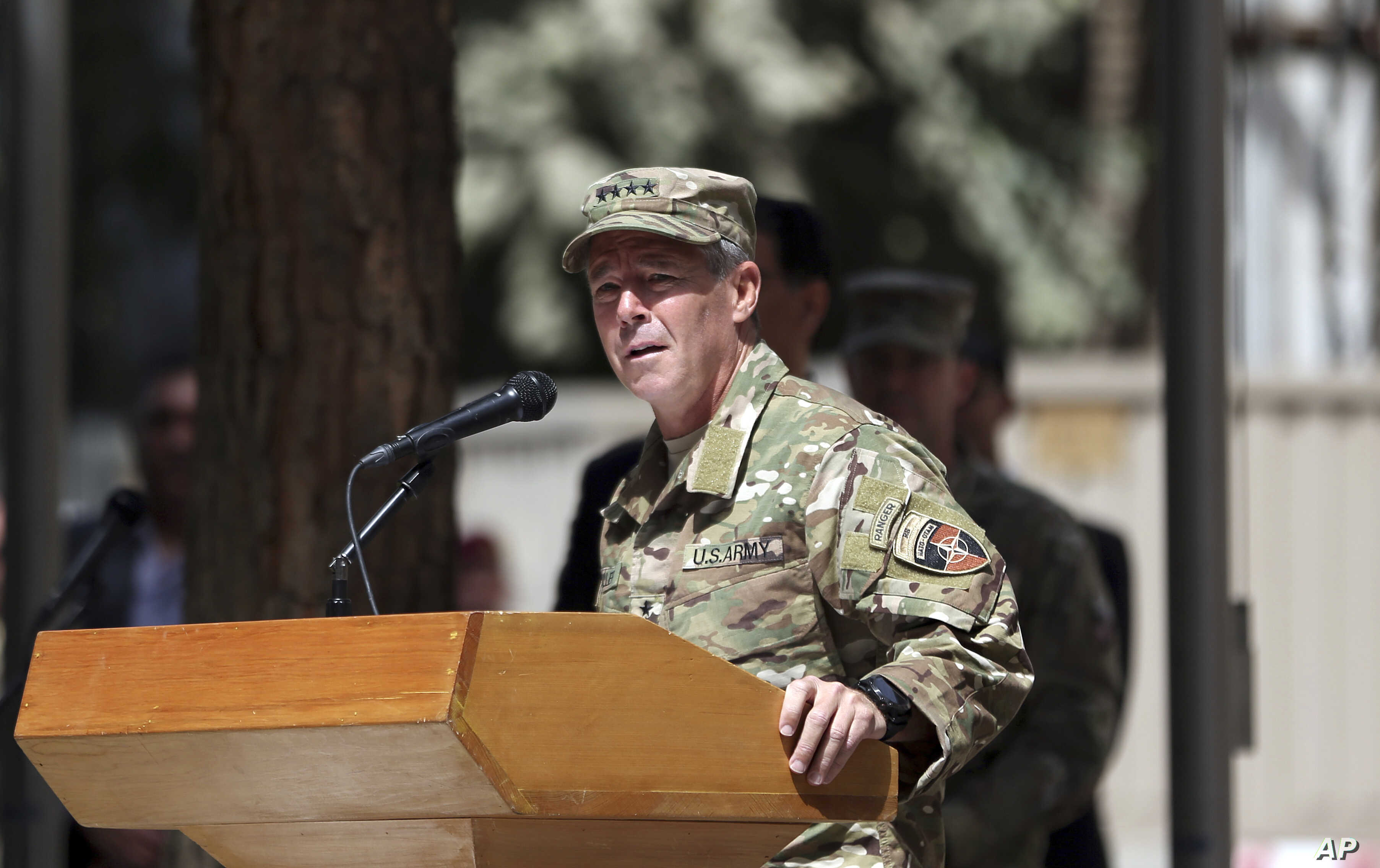 U.S. Army Gen. Austin Miller speaks during the change of command ceremony at Resolute Support headquarters in Kabul, Afghanistan, Sept. 2, 2018.