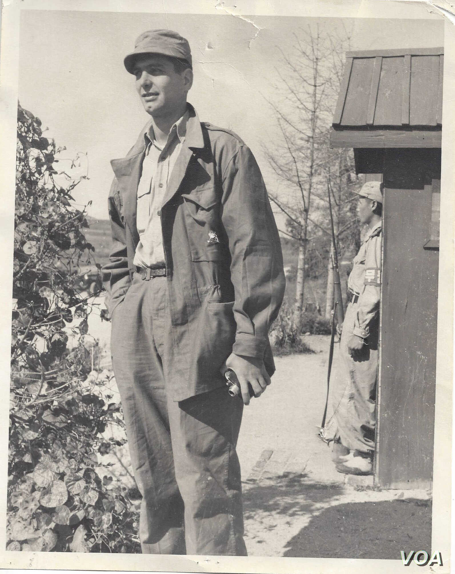 """Former VOA Correspondent Irwin """"Sonny"""" Fox at Panmunjom, Korea, June, 1953, on the border of North and South Korea and where is now deserted and in the DMZ. (Courtesy: Sonny Fox)"""