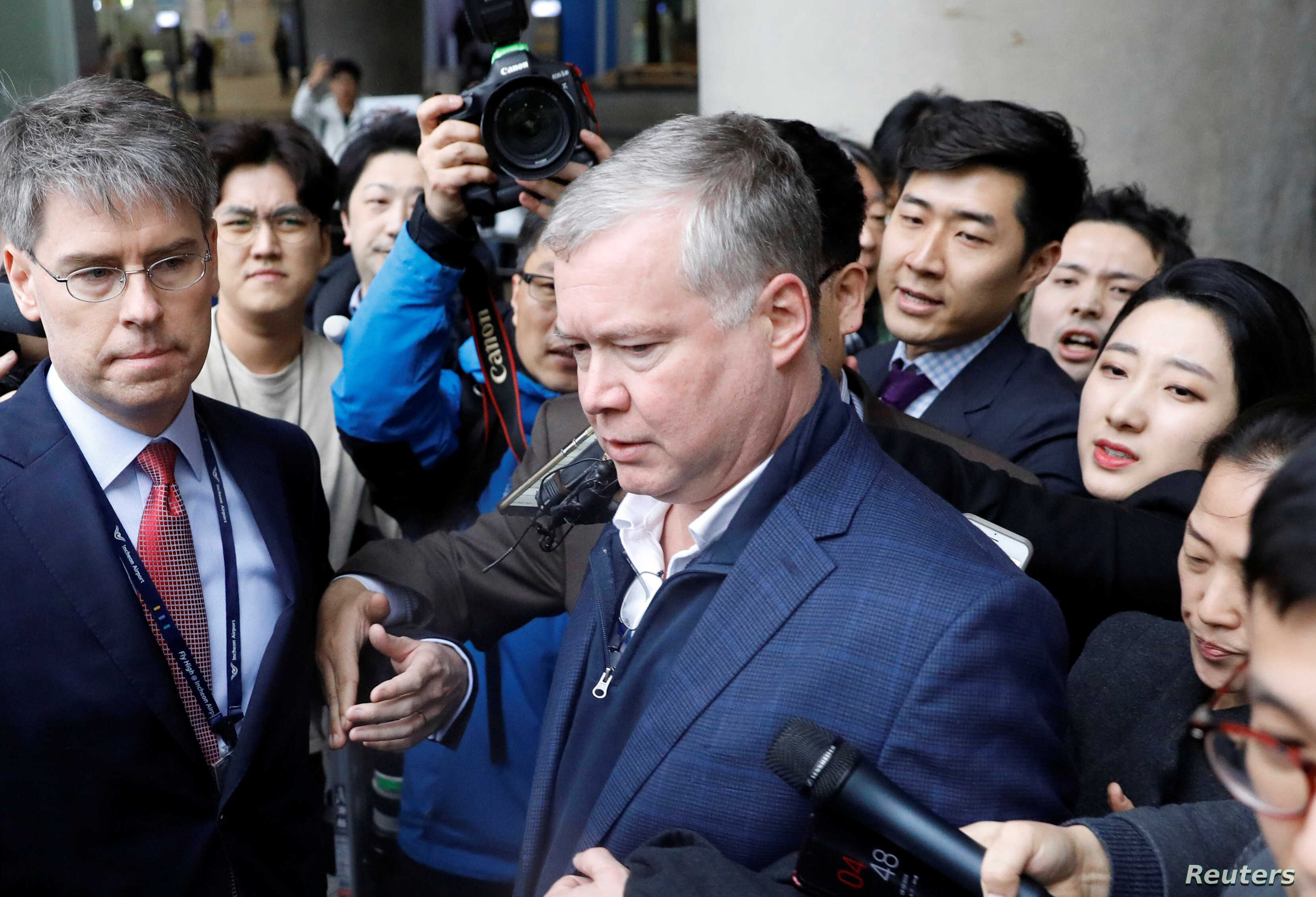 U.S. Special Representative for North Korea Stephen Biegun is surrounded by media upon his arrival to Incheon International Airport in Incheon, South Korea, Feb. 3, 2019.