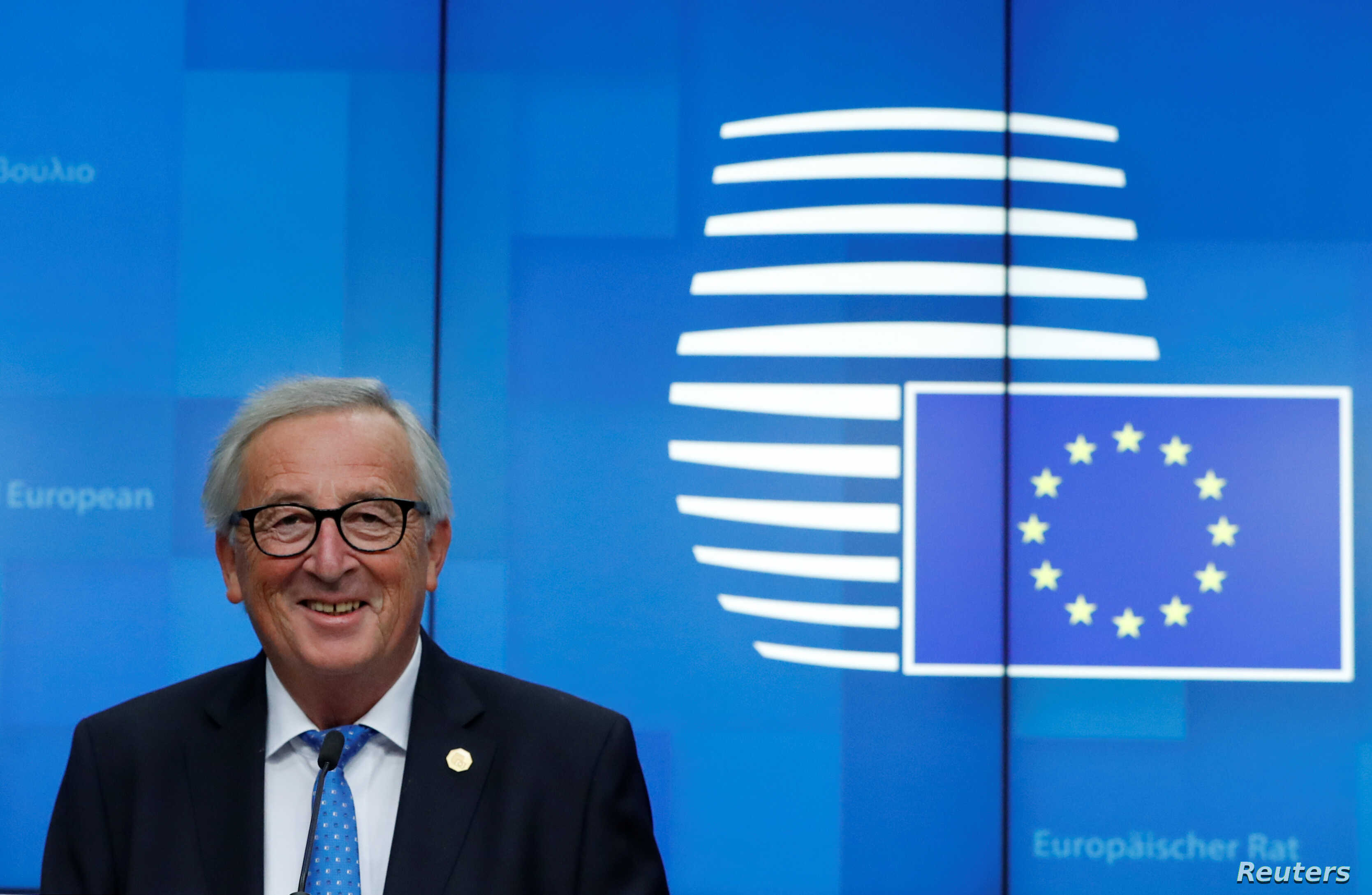 European Commission President Jean-Claude Juncker holds a news conference at the European Union leaders summit in Brussels, Belgium Oct. 18, 2018.