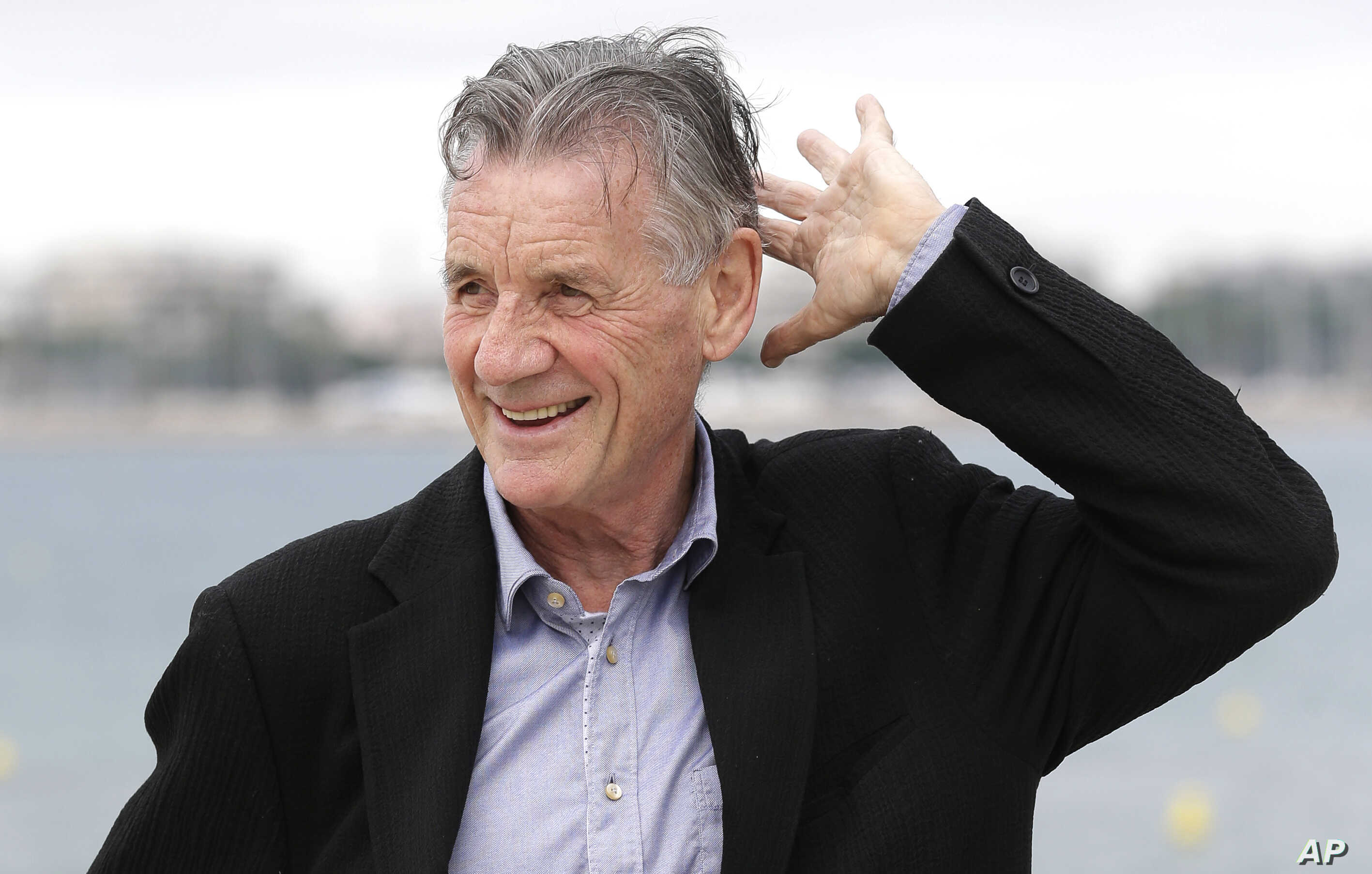 English comedian, actor, writer and television presenter Michael Palin poses during a press conference  in Cannes,  France,  Oct. 6, 2015.