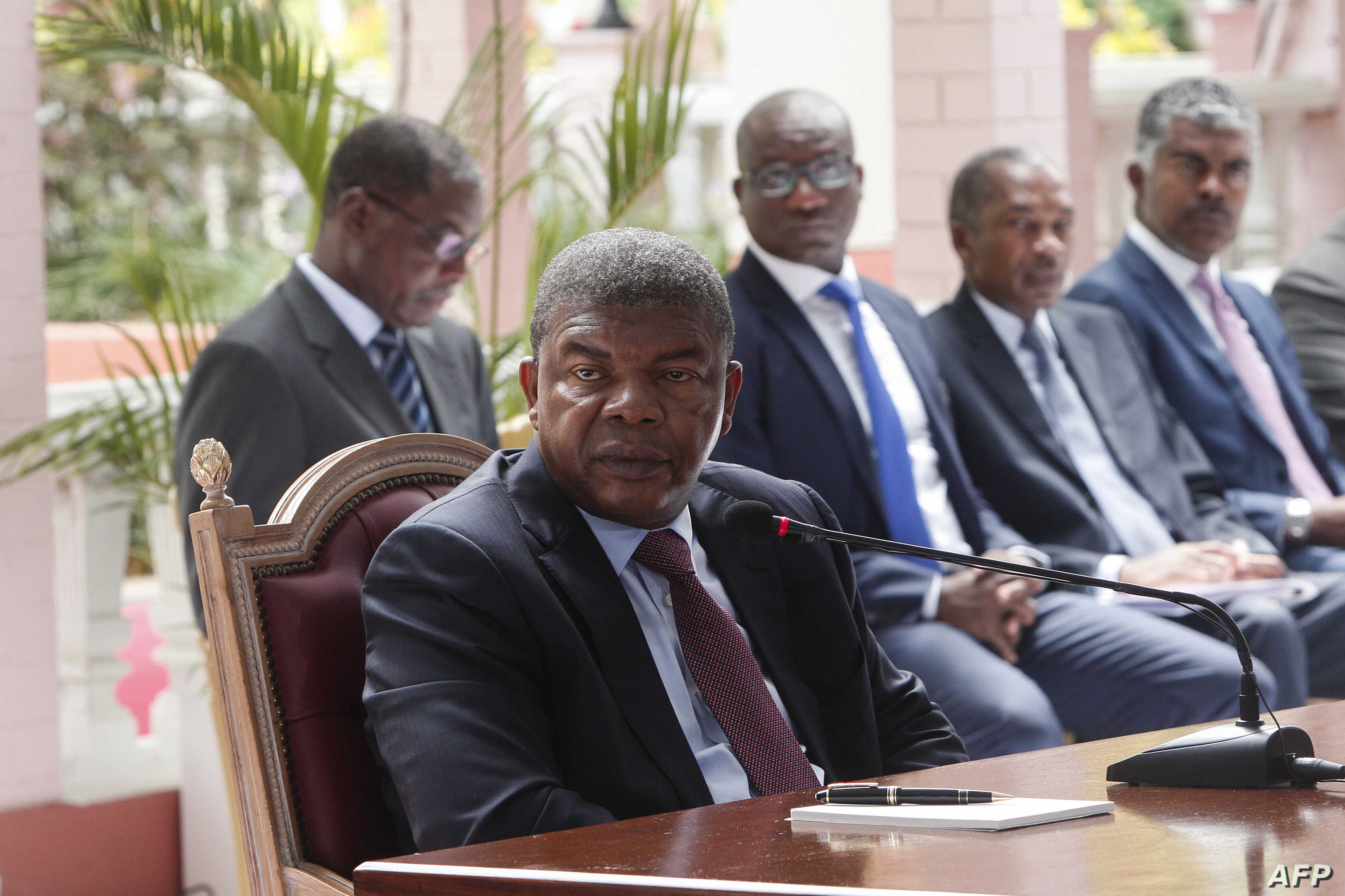 Angolan President Joao Lourenco gives his first press conference after his election on Jan. 8, 2018 to mark his first 100 days in office at the Presidential Palace in Luanda.