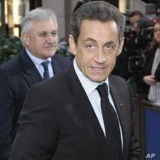 French President Nicolas Sarkozy arrives for an EU summit in Brussels on Oct. 26, 2011.