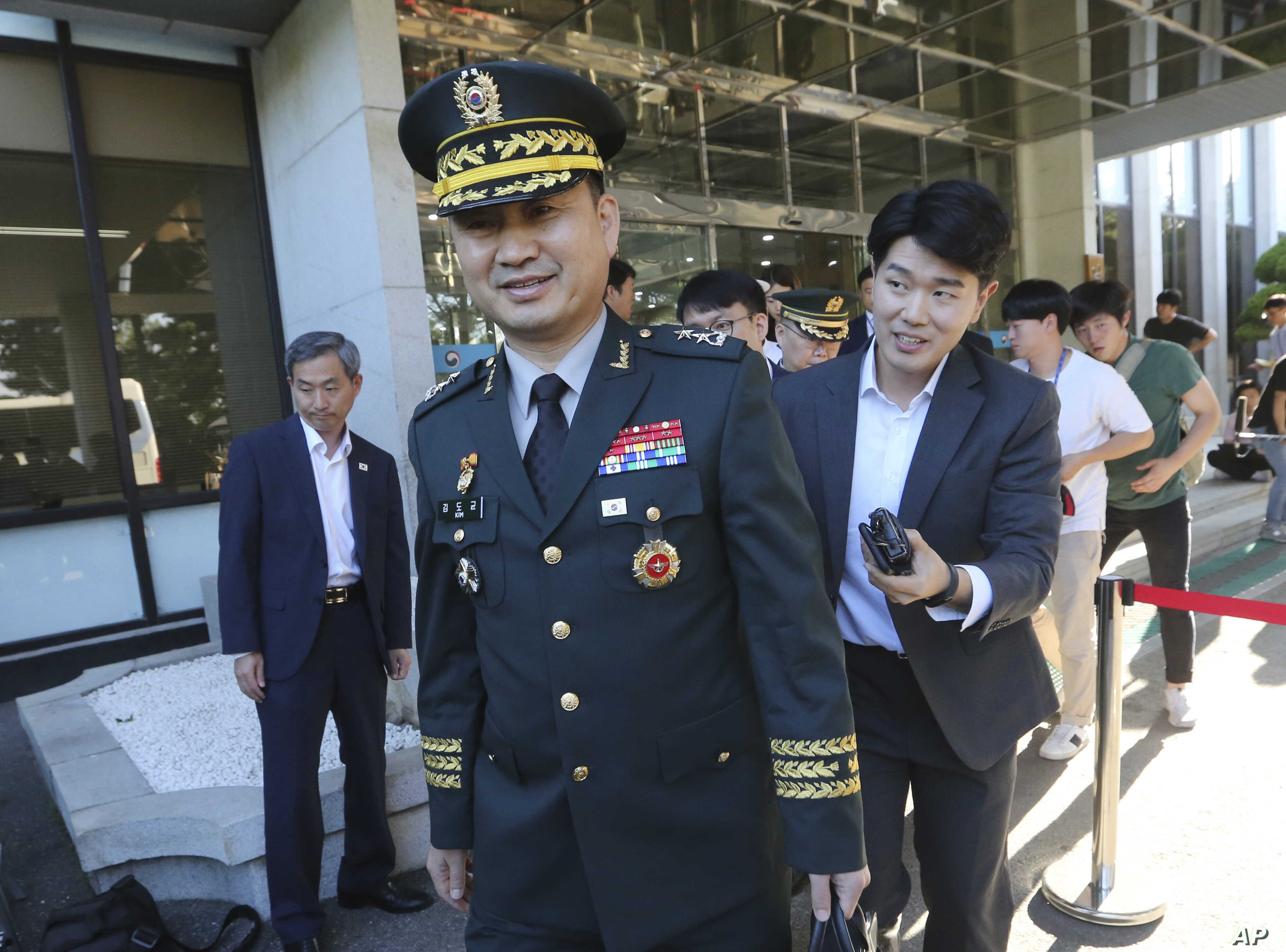 South Korean Maj. Gen. Kim Do-gyun leaves for the border village of Panmunjom to attend a joint meeting between North and South Korea, July 31, 2018.