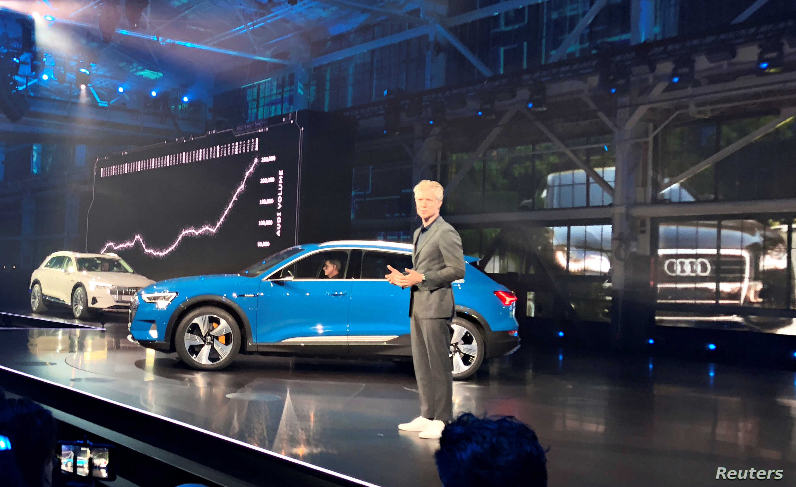 Audi of America President Scott Keogh introduces the German luxury brand's first all-electric production vehicle, the e-tron sport utility vehicle, at an event in Richmond, Calif., Sept. 17, 2018.