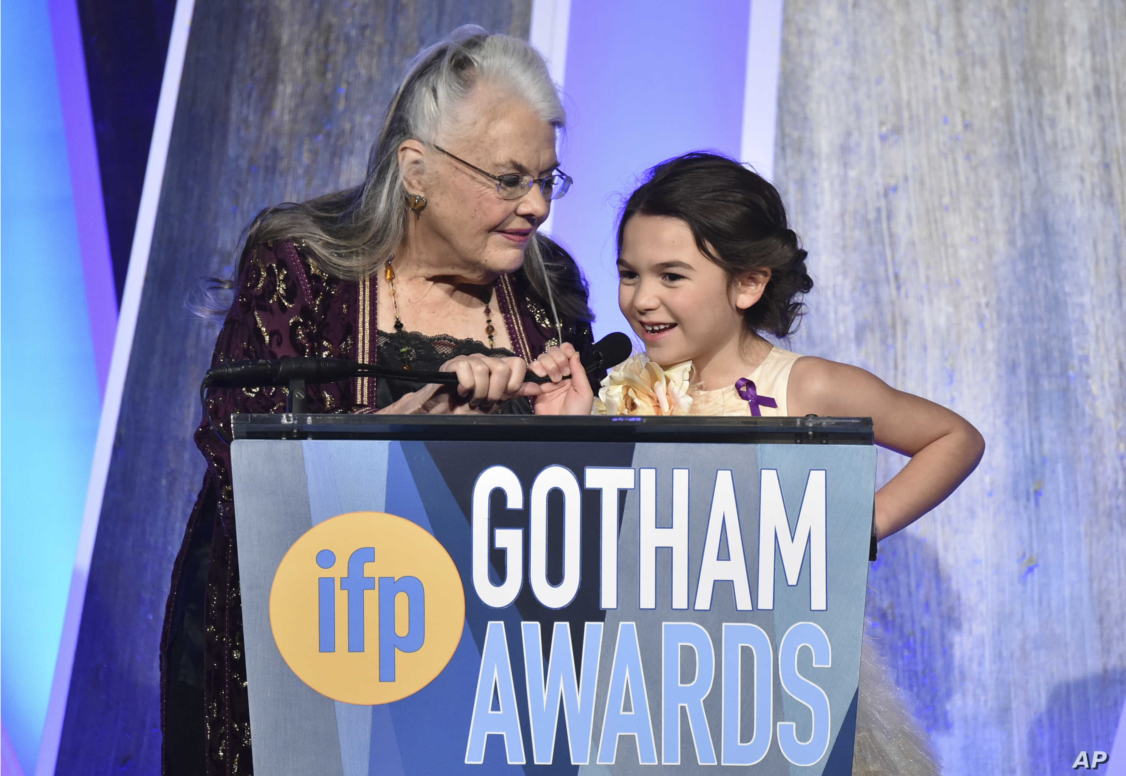 Actors Lois Smith, left, and Brooklynn Prince present at the 27th annual Independent Film Project's Gotham Awards at Cipriani Wall Street, Nov. 27, 2017, in New York.
