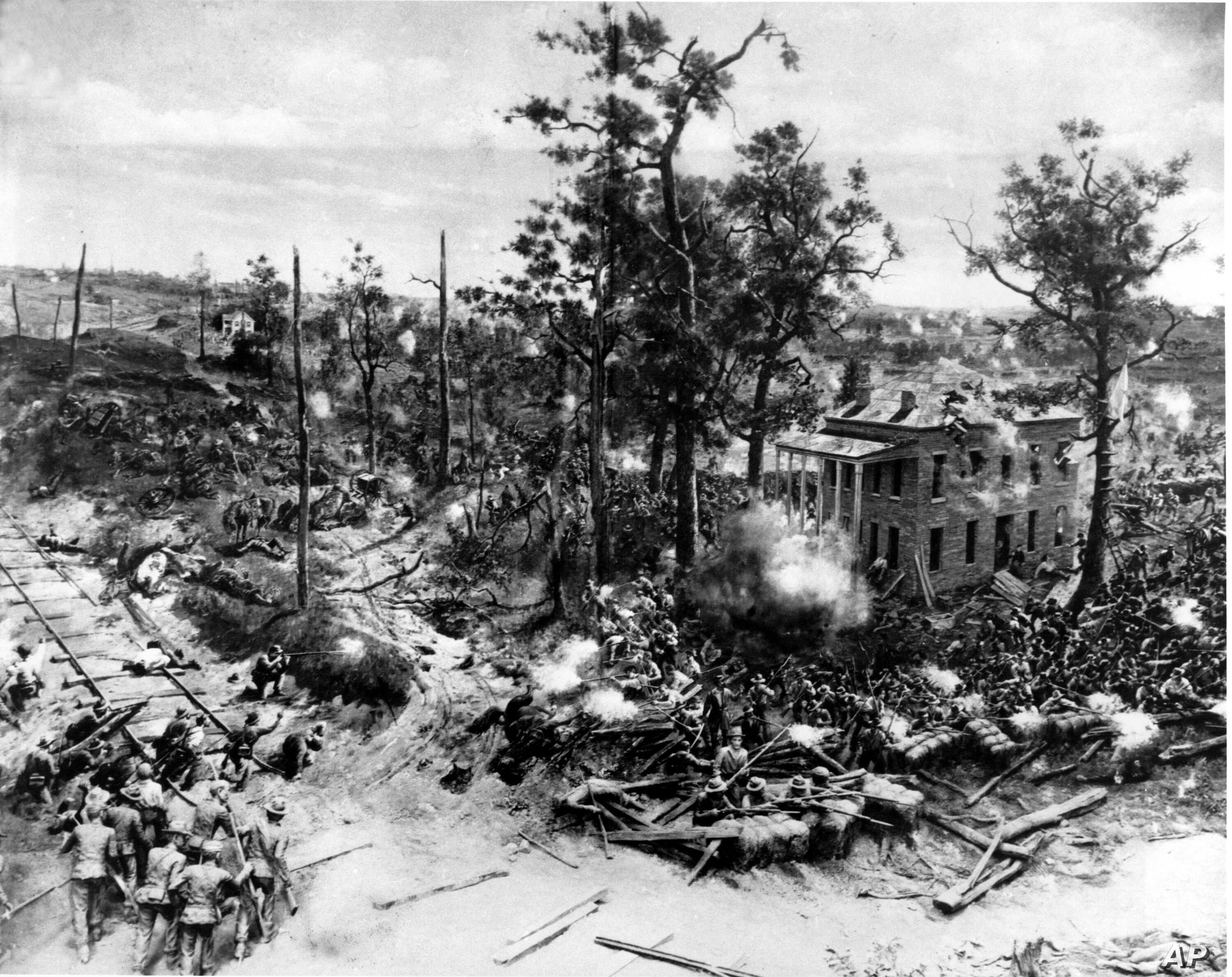 A close-up of a section of a cyclorama depicting the Battle of Atlanta from the American Civil War is seen in this undated photograph.