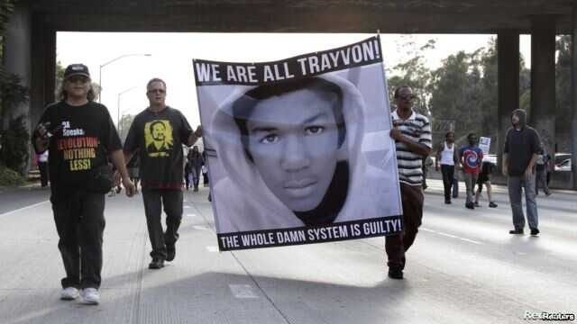 Demonstrators block traffic on a highway in Los Angeles as they protest the acquittal of George Zimmerman in the Trayvon Martin trial on July 14.