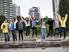 Not every summer camp convenes in the woods.  Here, young actors frolic at a film-school camp in the heart of a big city: Vancouver, British Columbia in Canada.