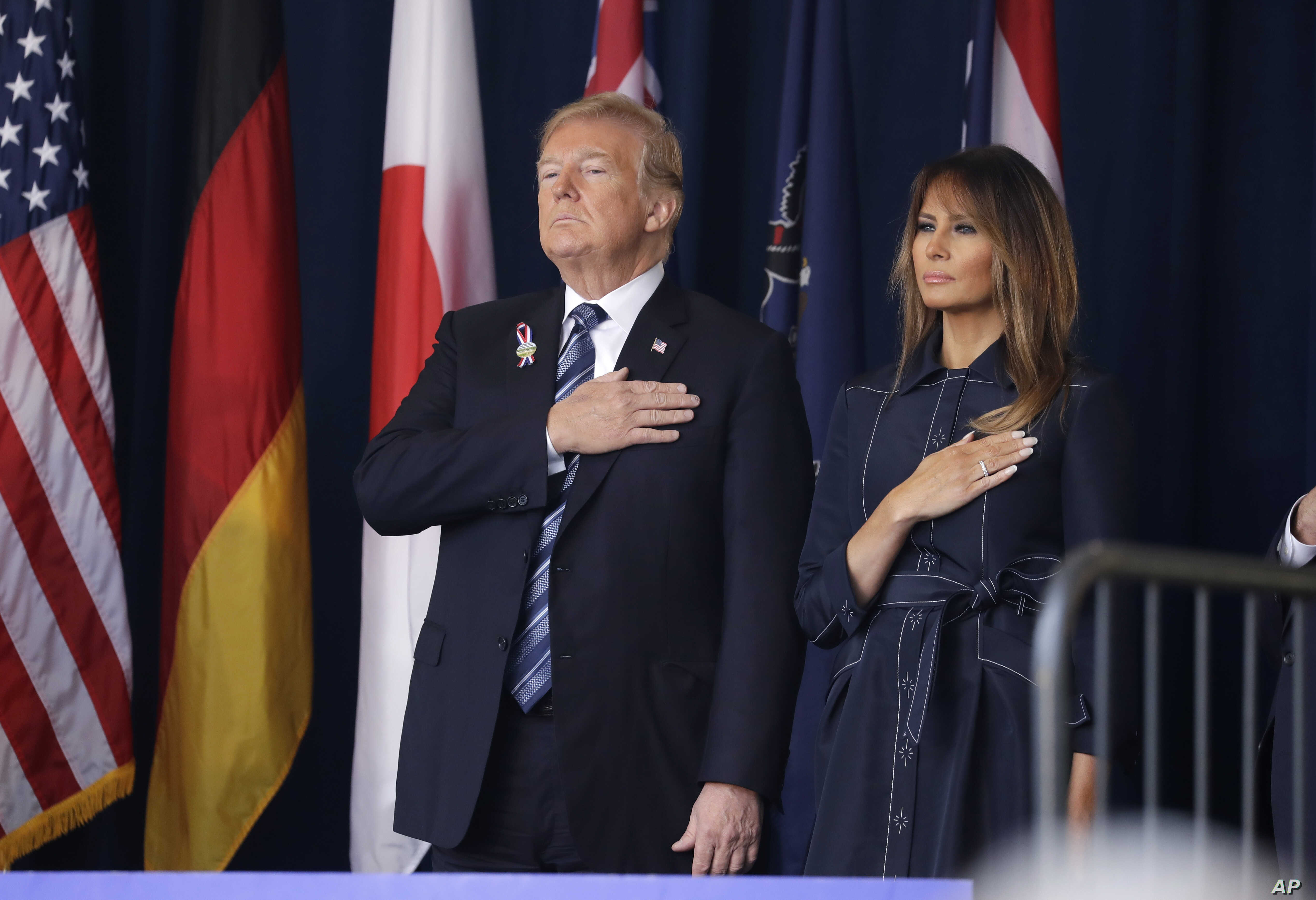 President Donald Trump and first lady Melania Trump participate in the September 11th Flight 93 Memorial Service, Sept. 11, 2018, in Shanksville, Pa.