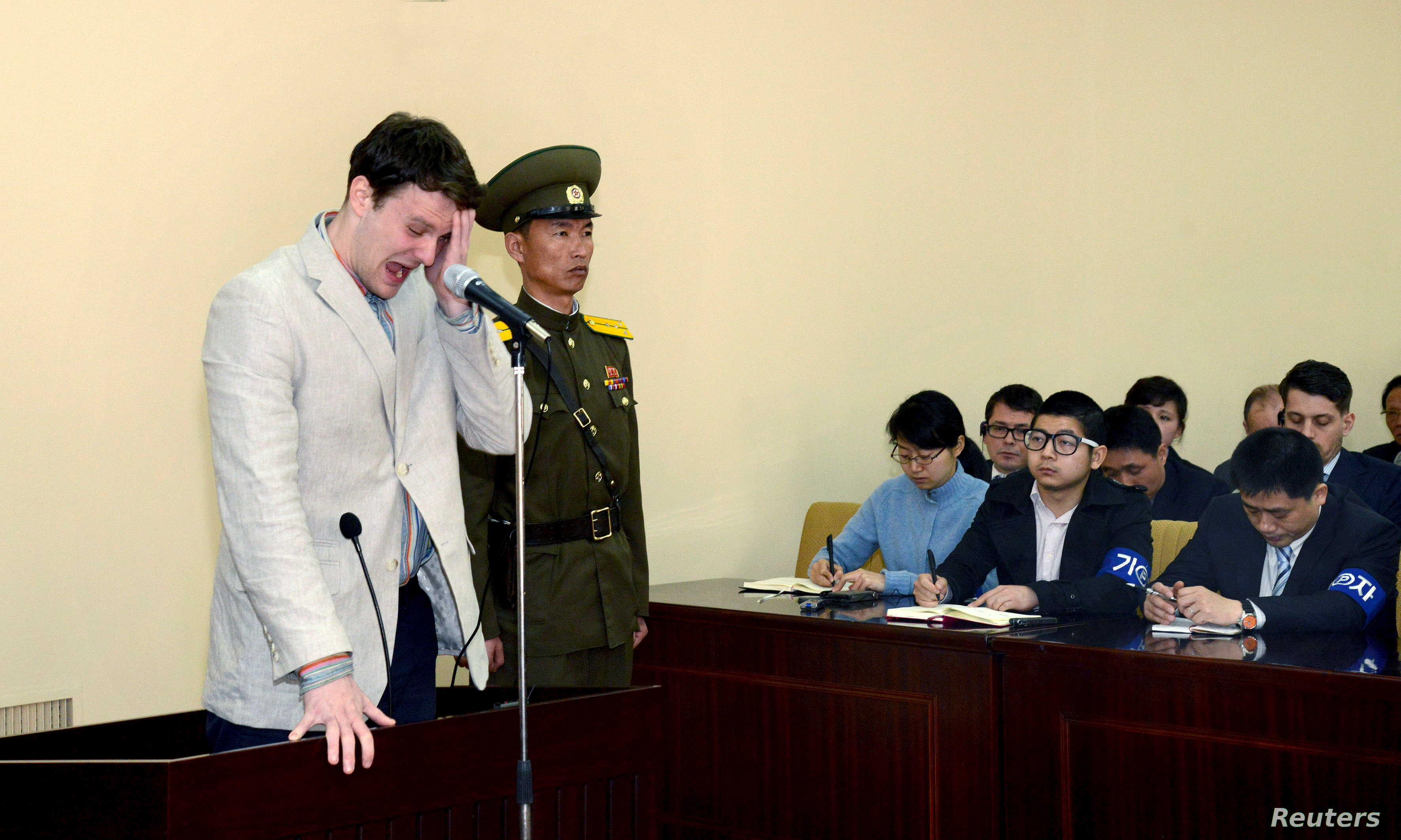 U.S. student Otto Warmbier cries at court in an undisclosed location in North Korea, in this photo released by North Korea's Korean Central News Agency (KCNA) in Pyongyang on March 16, 2016.