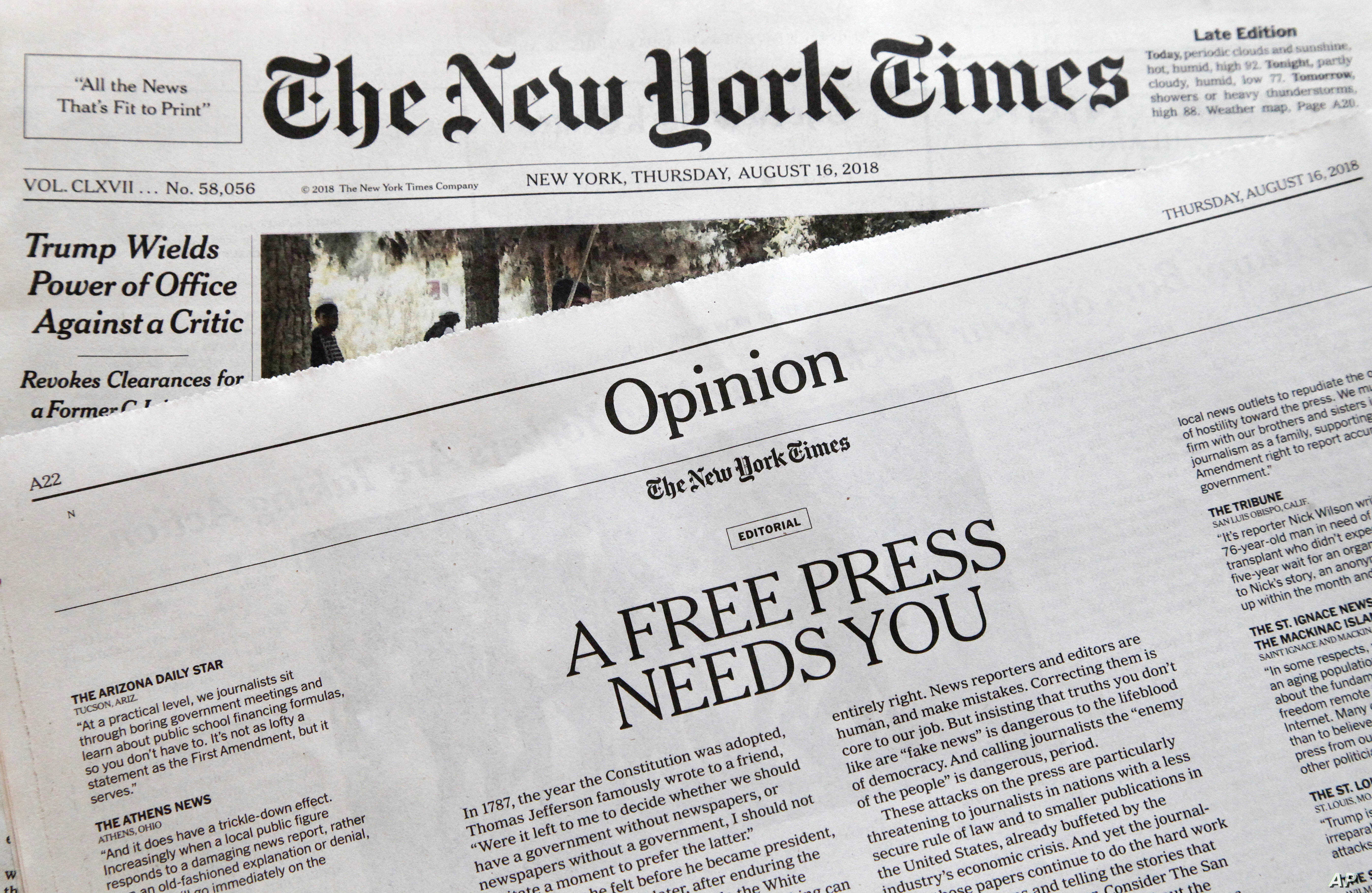"""An editorial titled """"A Free Press Needs You"""" is published in The New York Times, Aug. 16, 2018, in New York."""