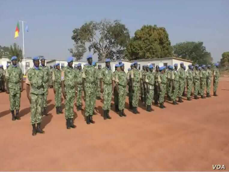 Cameroon troops at the U.N. MINUSCA base in Bossangoa, Central African Republic, Dec. 27, 2018. Cameroon has announced new troop deployments to keep fighting in C.A.R. from spilling across the border.