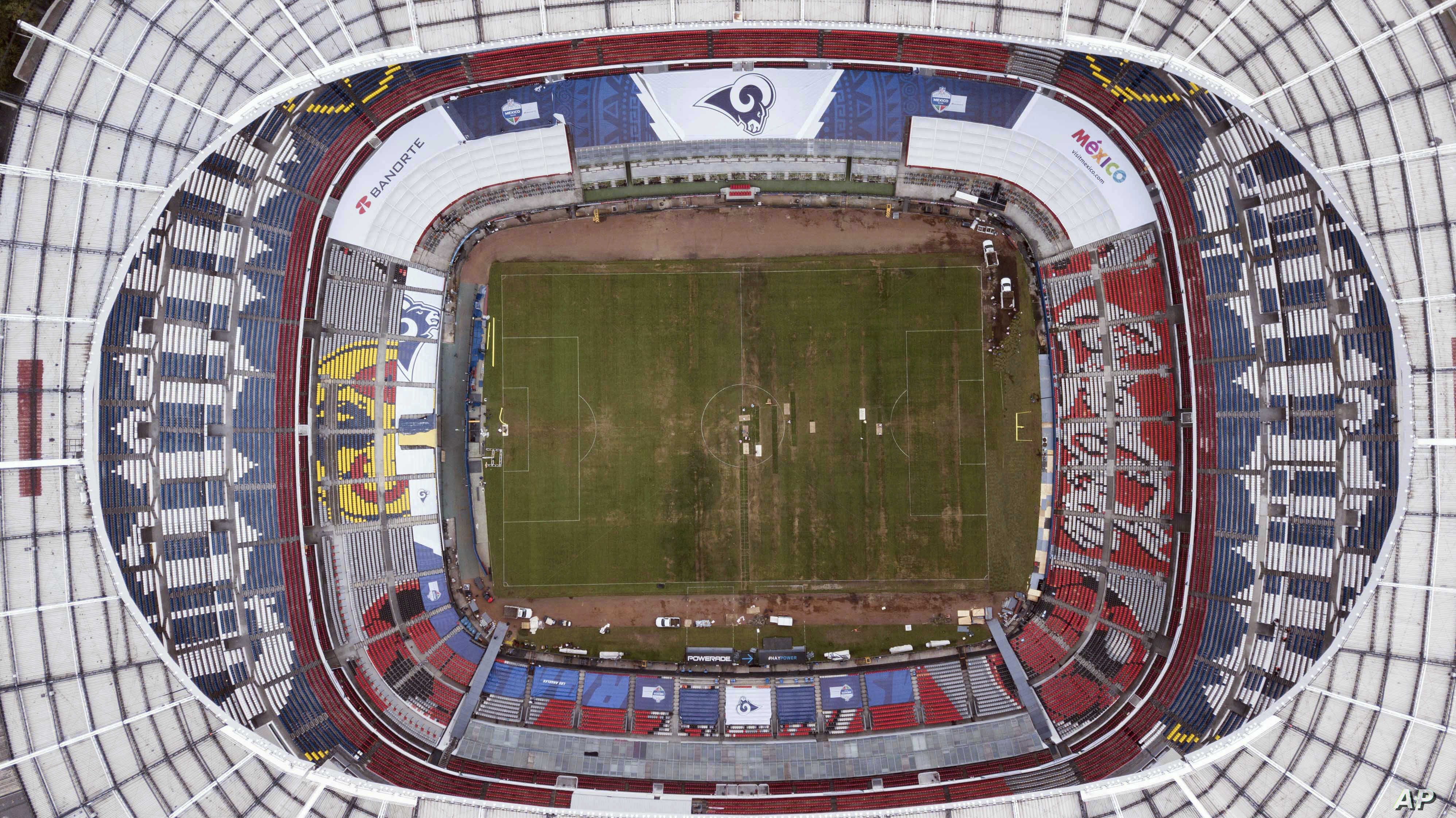 Mexico's Azteca Stadium is seen from above in Mexico City, Nov. 13, 2018. The NFL has moved the Los Angeles Rams' Monday night showdown with the Kansas City Chiefs from Mexico City to Los Angeles due to the poor condition of the field at Azteca Stadi...