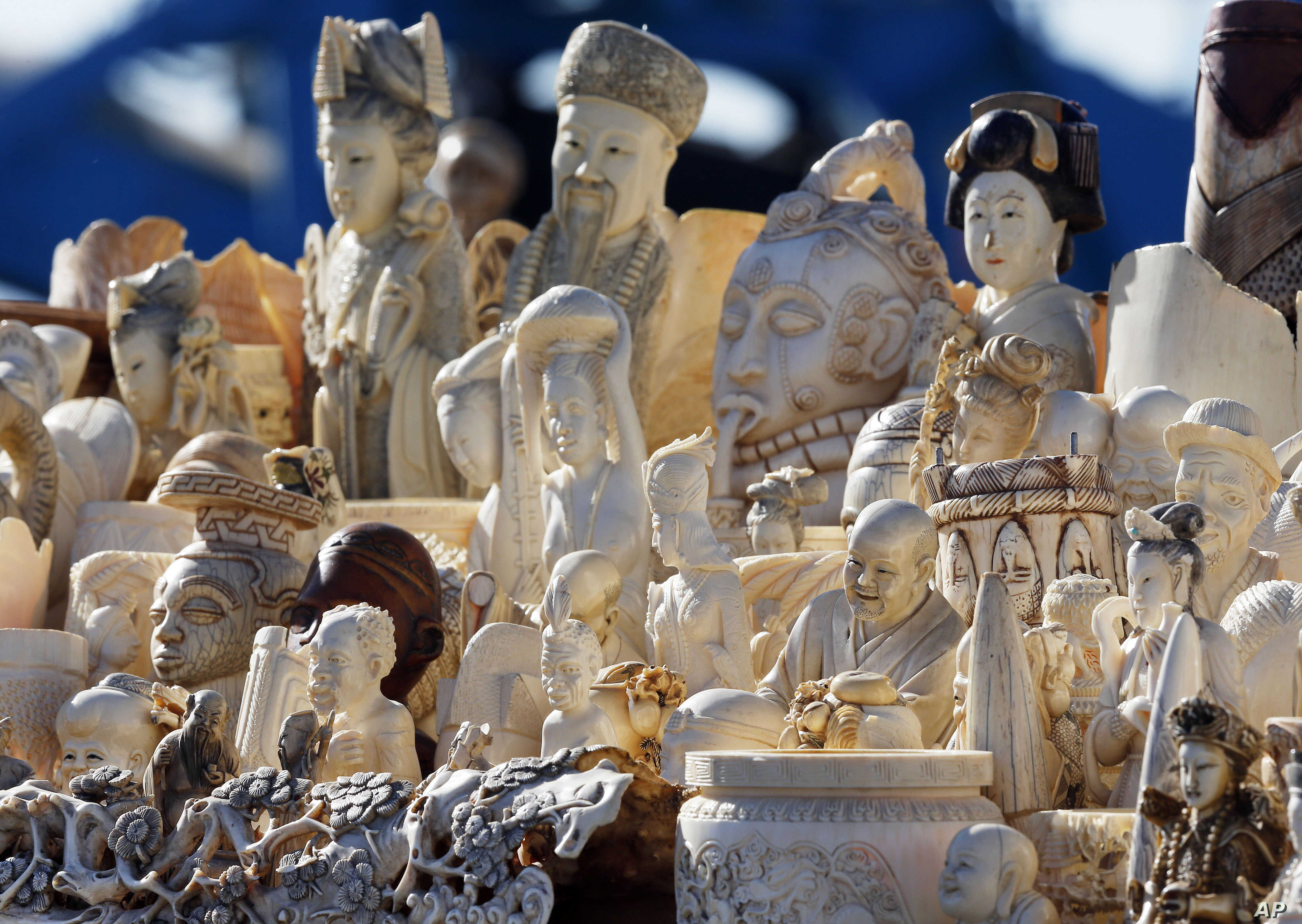In a U.S. crackdown,confiscated ivory was stacked for crushing last year at the National Wildlife Property Repository at Rocky Mountain Arsenal National Wildlife Refuge in Commerce City, Colorado.