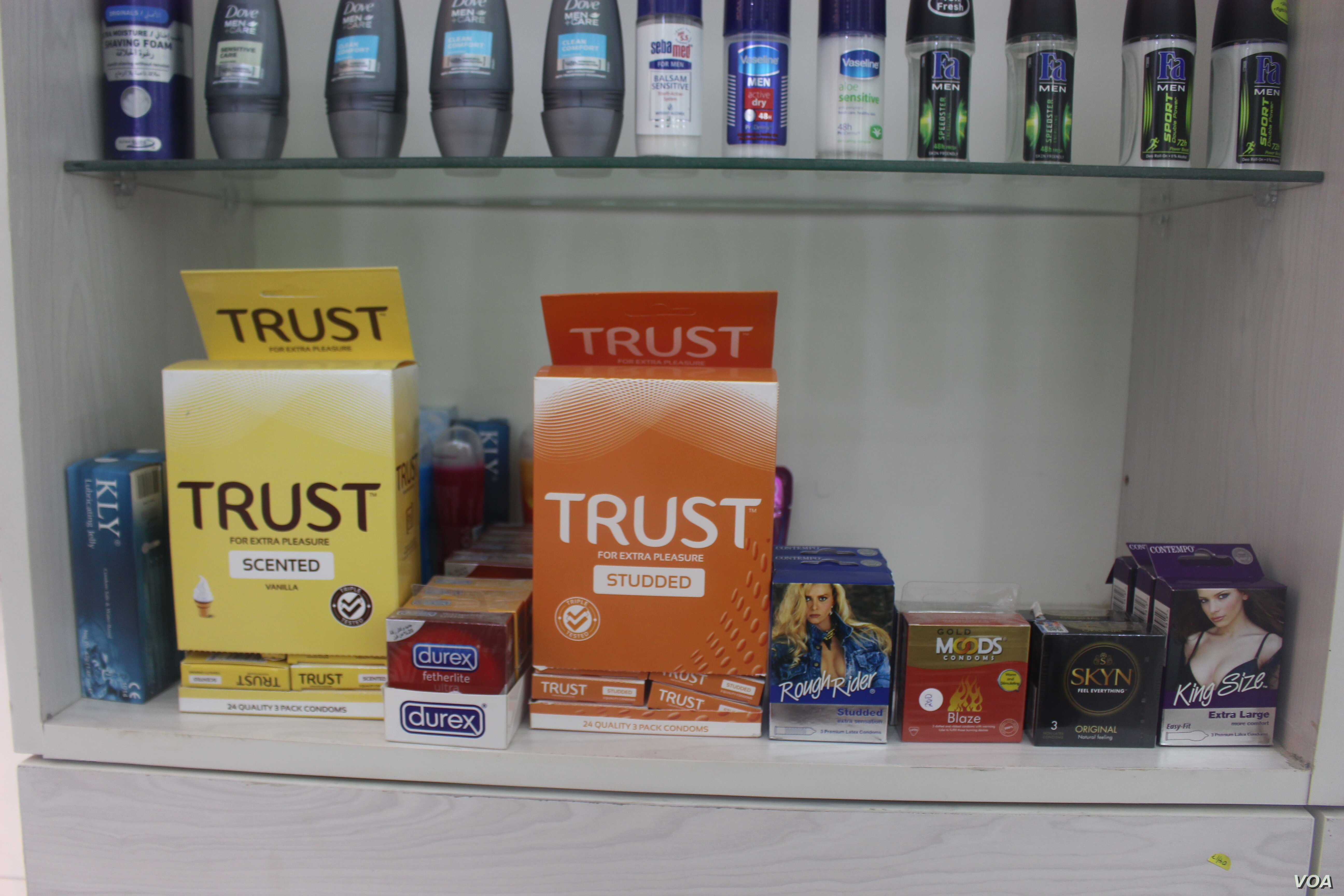 Condoms on display at a pharmacy in Nairobi. PrEP users can combine the use of the drug with other preventive interventions, like use of condoms. (R. Ombuor/VOA)