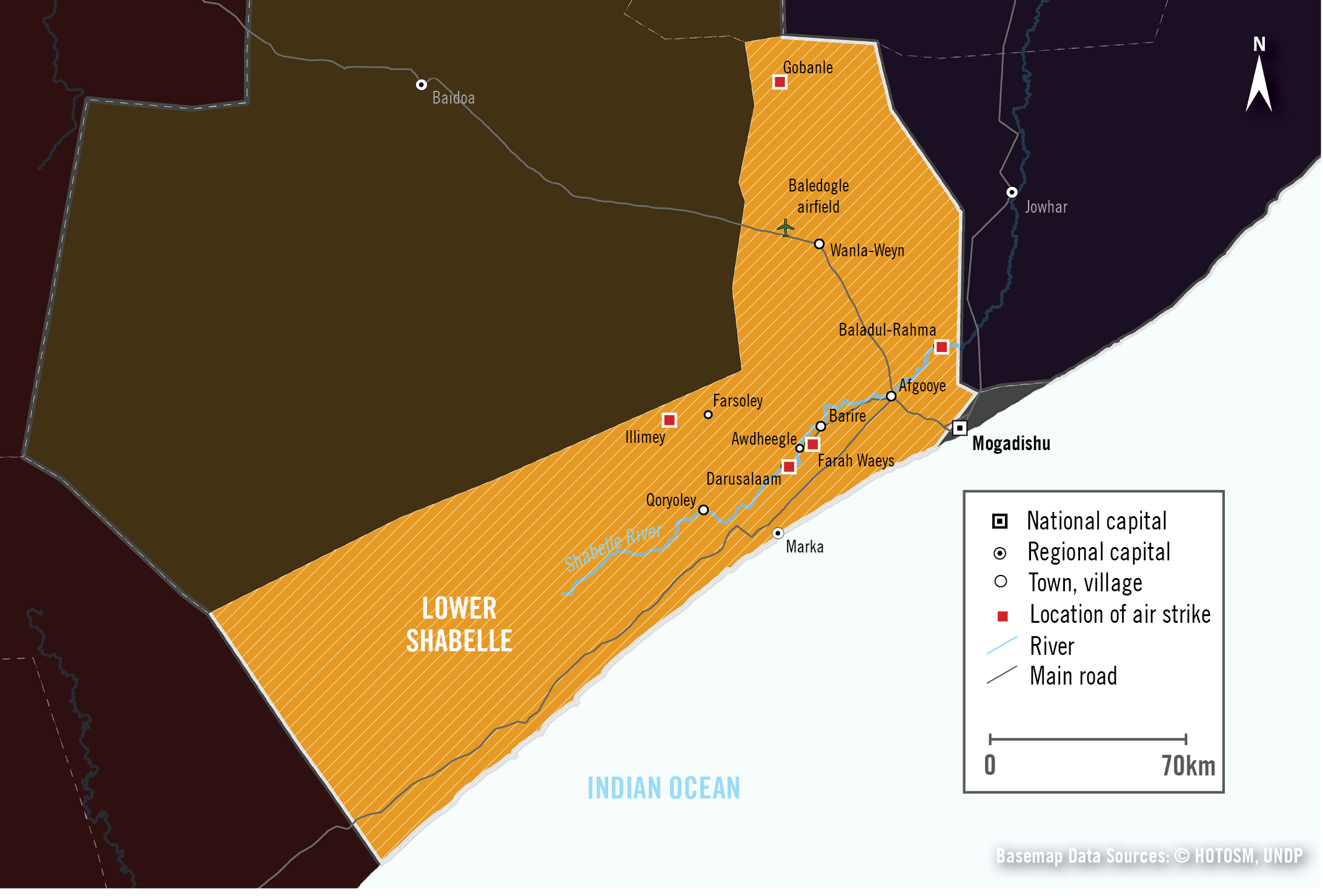 Map of Lower Shabelle, Somalia