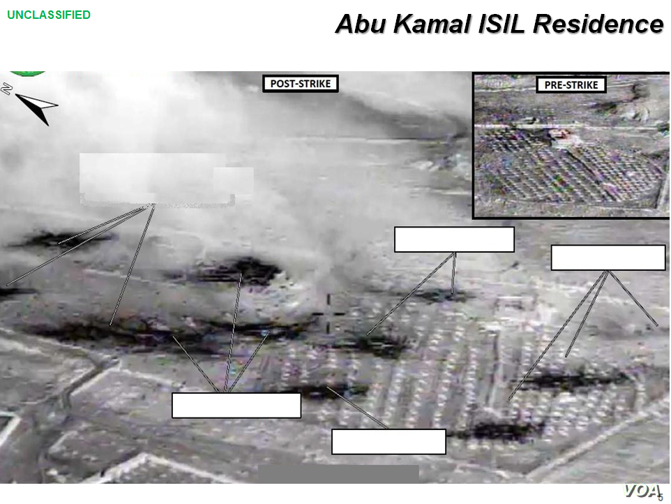 Press briefing slide - Airstrike on Abu Kamal ISIL residence by coalition forces, Raqqah, Syria, Sept. 23, 2014, (U.S. Central Command Center)