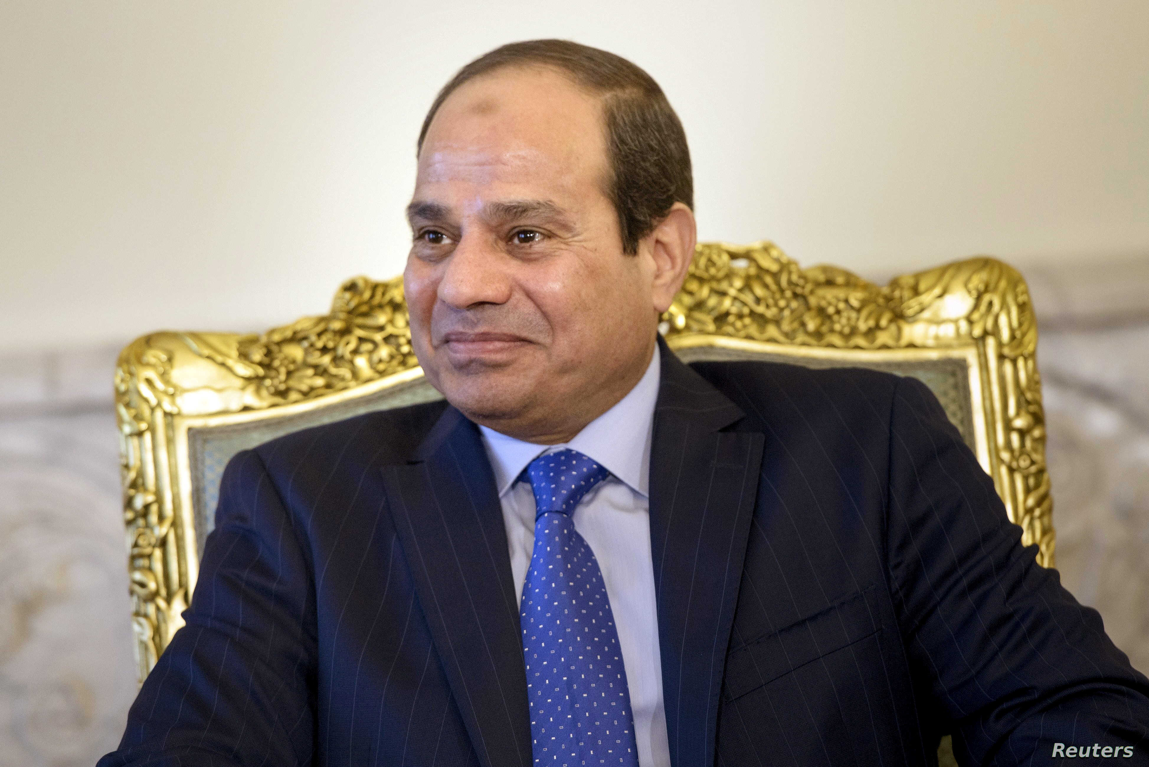 Egypt's President Abdel Fattah al-Sisi sits before a meeting at the presidential palace in Cairo Aug. 2, 2015.