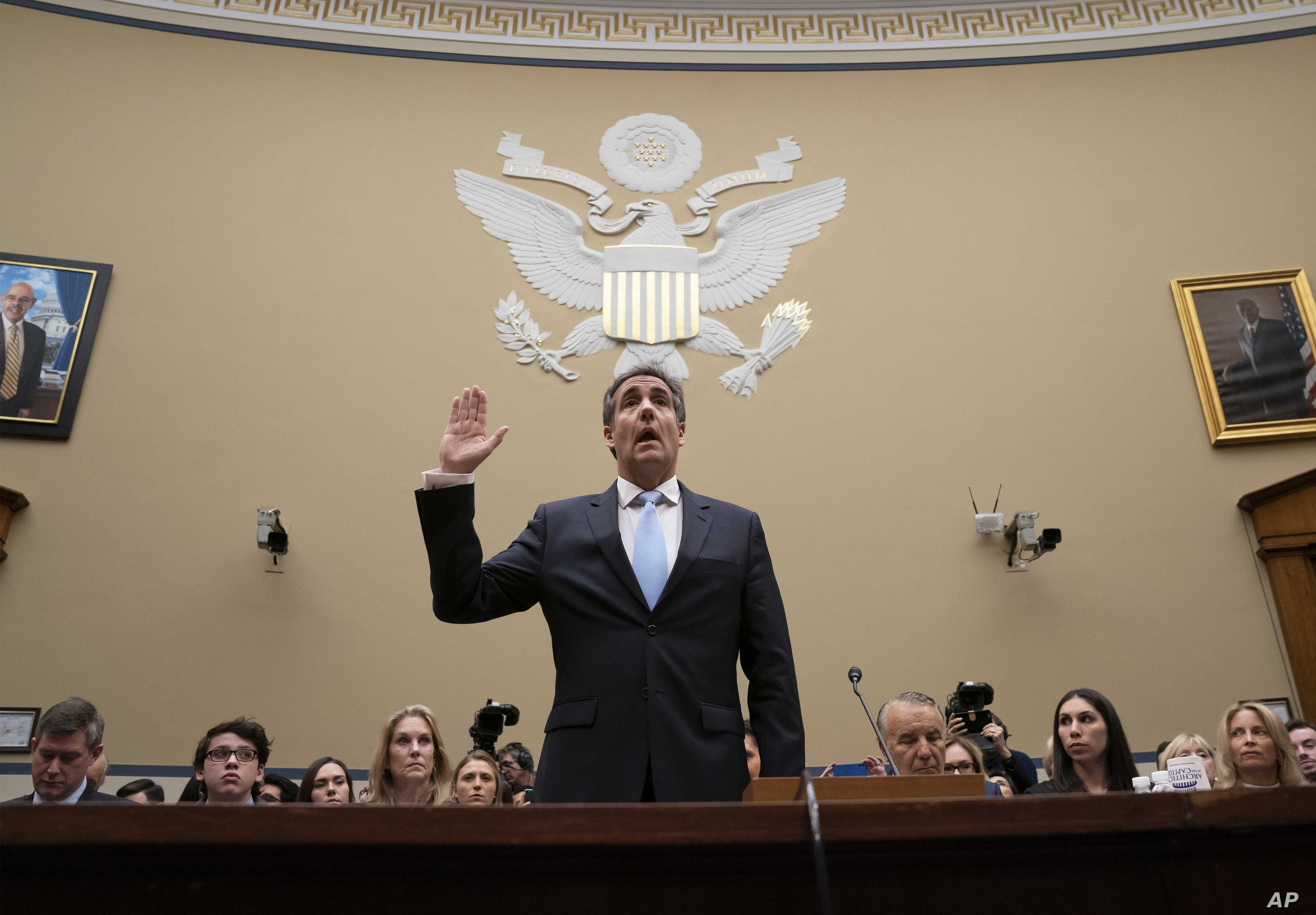 Michael Cohen, President Donald Trump's former personal lawyer, is sworn in to testify before the House Oversight and Reform Committee on Capitol Hill in Washington, Feb. 27, 2019.