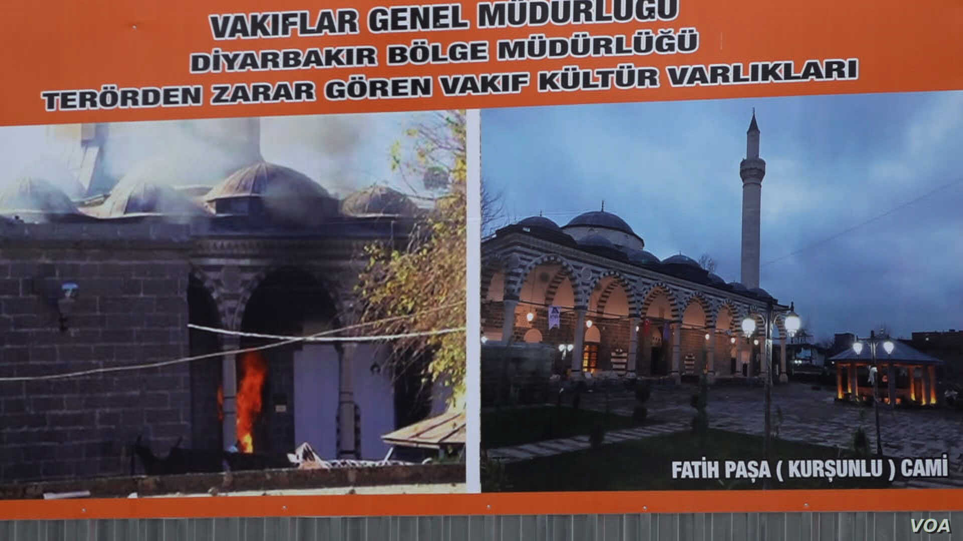 Posters by the AKP show the destruction caused by fighting with the PKK in Diyarbakir and how authorities are now rebuilding the city.