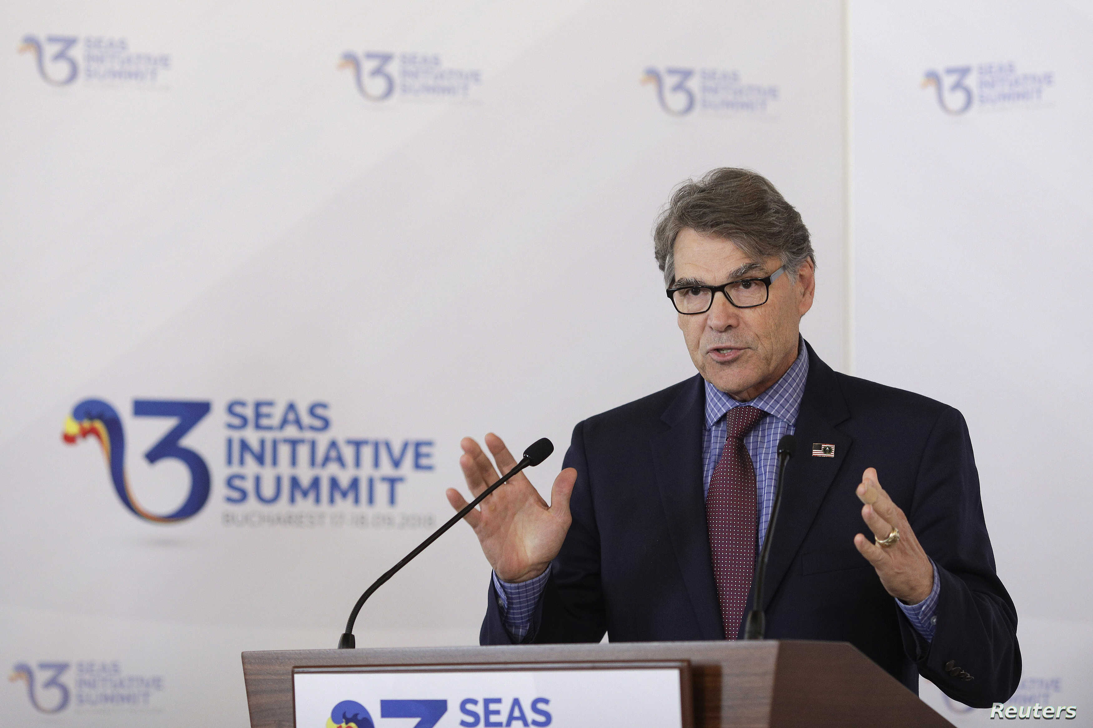 U.S. Energy Secretary Rick Perry speaks during the Three Seas Initiative Summit in Bucharest, Romania, Sept. 18, 2018.