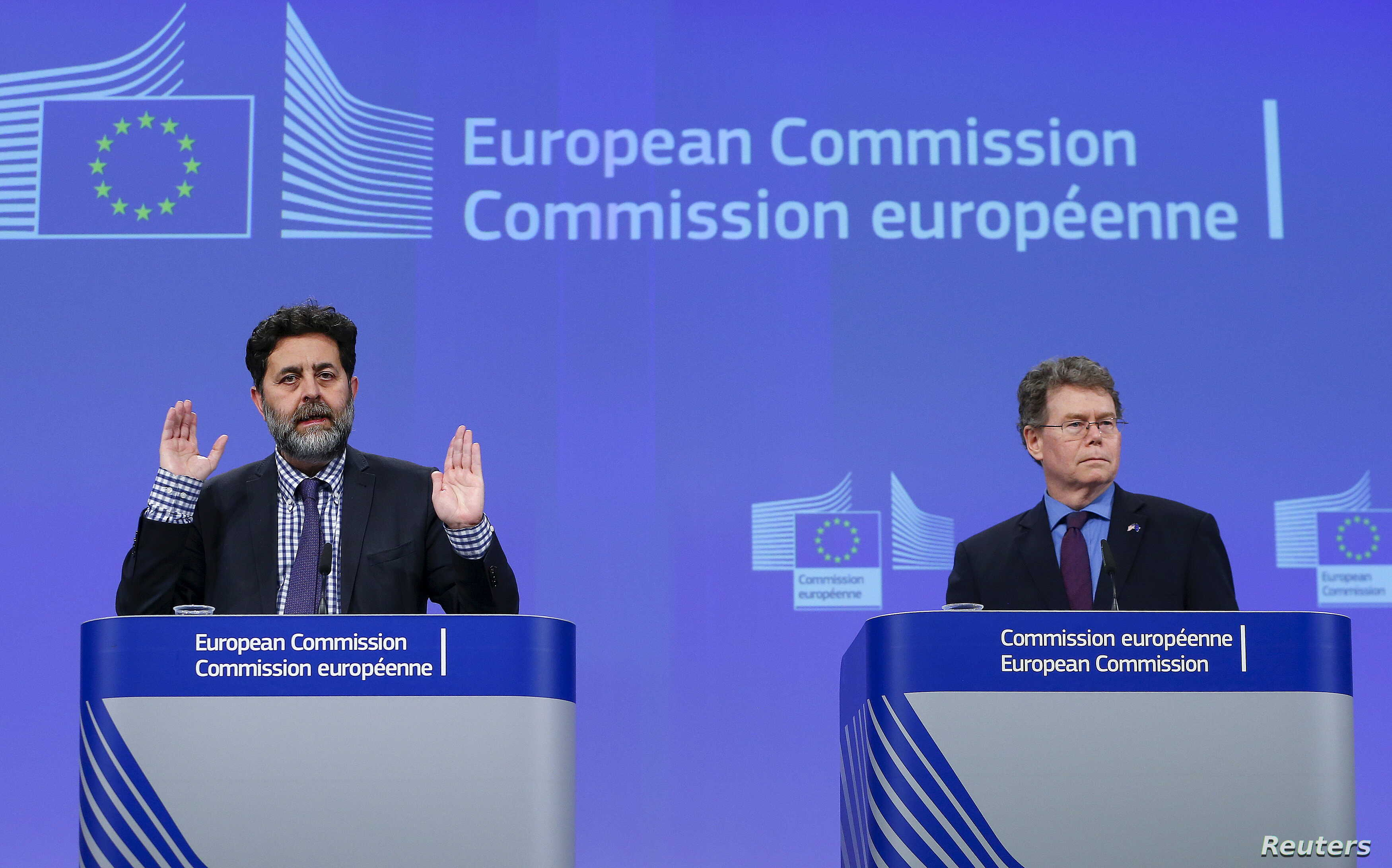 European Union chief negotiator Ignacio Garcia Bercero, left, and U.S. chief negotiator Dan Mullaney speak to reporters after the 12th round of E.U.-U.S. trade negotiations for the Transatlantic Trade and Investment Partnership (TTIP) in Brussels, Be...