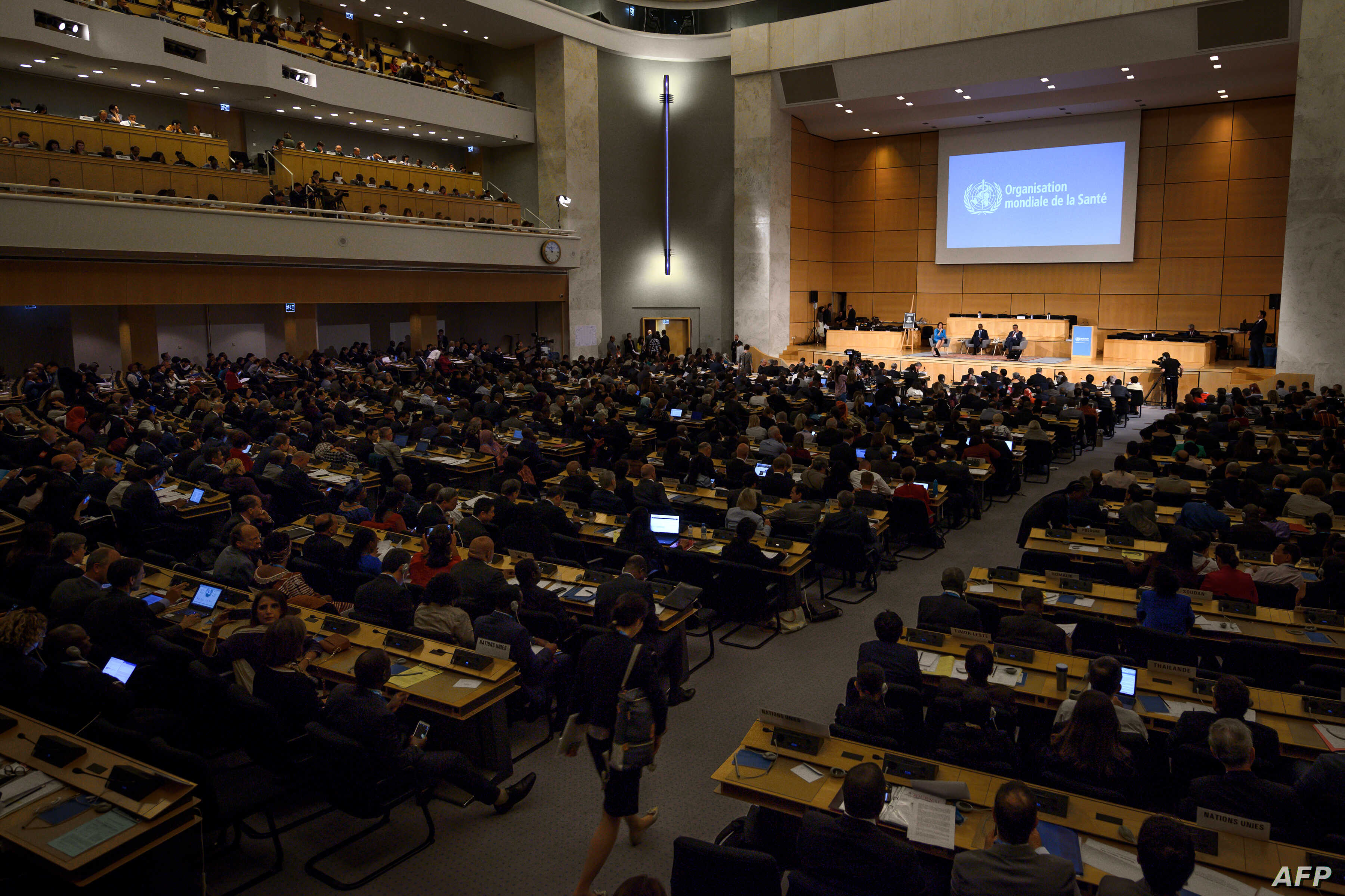 A picture taken on May 21, 2018 in Geneva shows a general view during the World Health Organization (WHO) Assembly, an annual meeting with health representatives to discuss a range of global health issues.