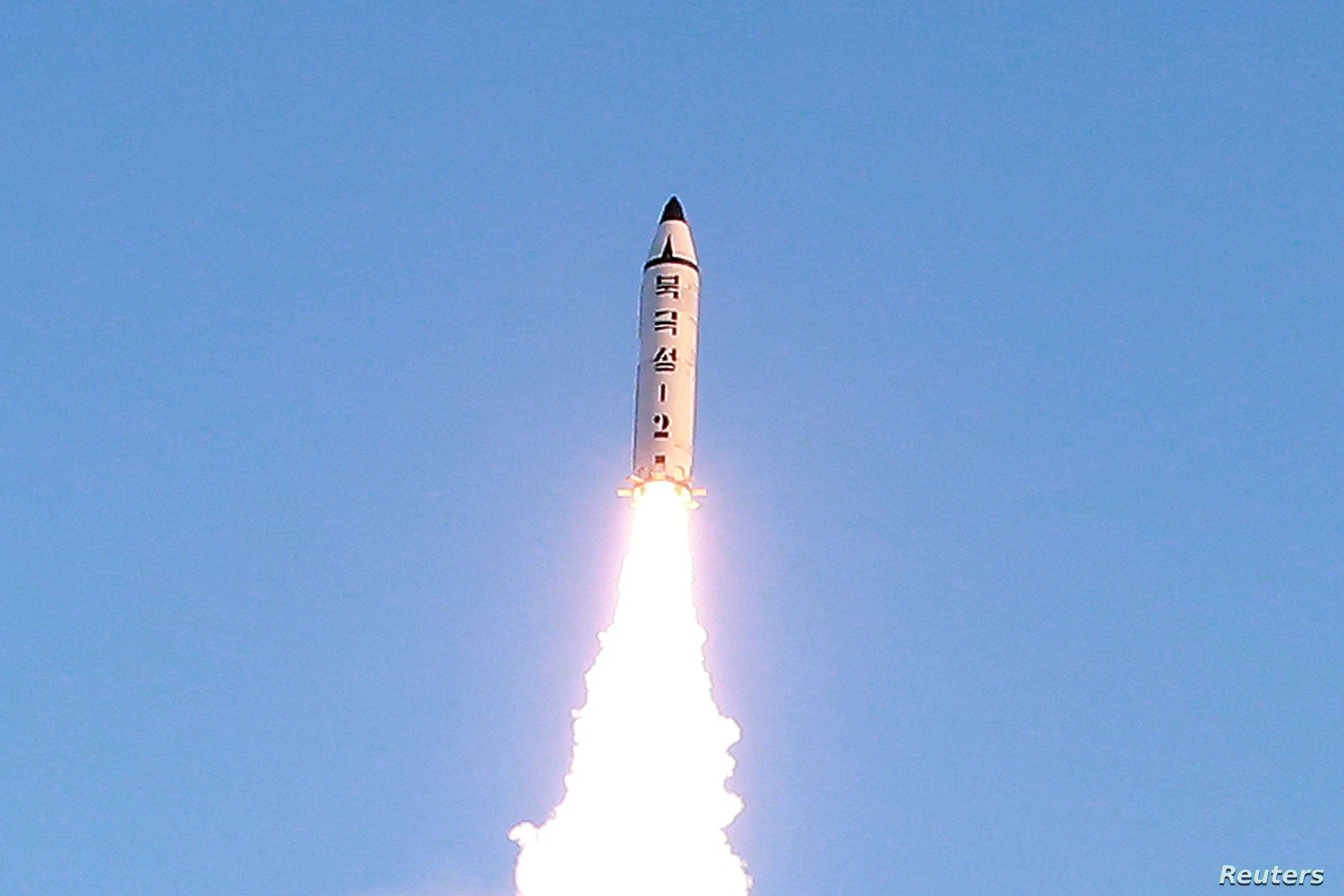 A view of the test-fire of a Pukguksong-2 missile, Feb. 13, 2017.