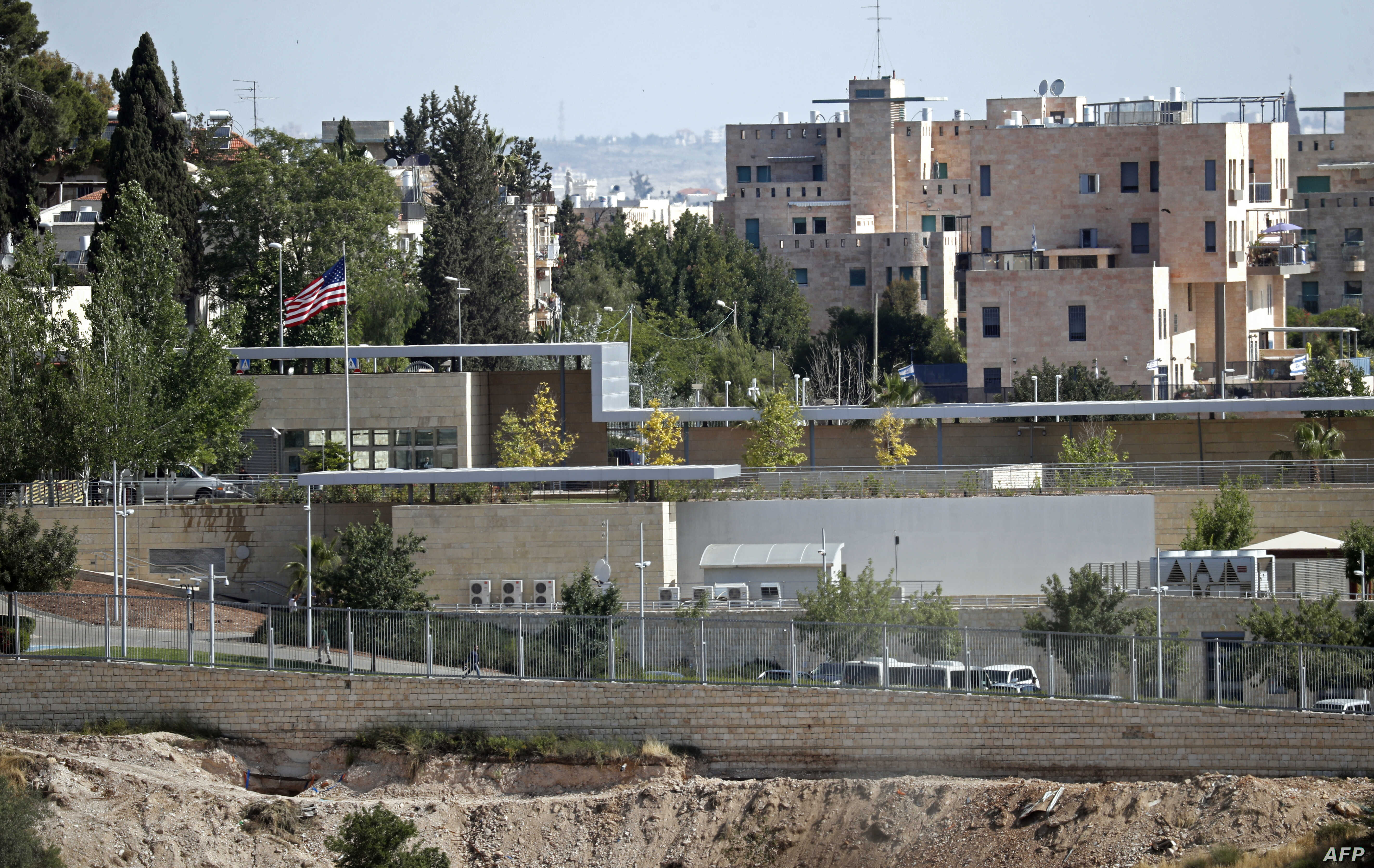 FILE - This partial view shows the U.S. Consulate situated in the area between West and East Jerusalem, which will be used as a temporary new U.S. Embassy starting May 14, 2018.