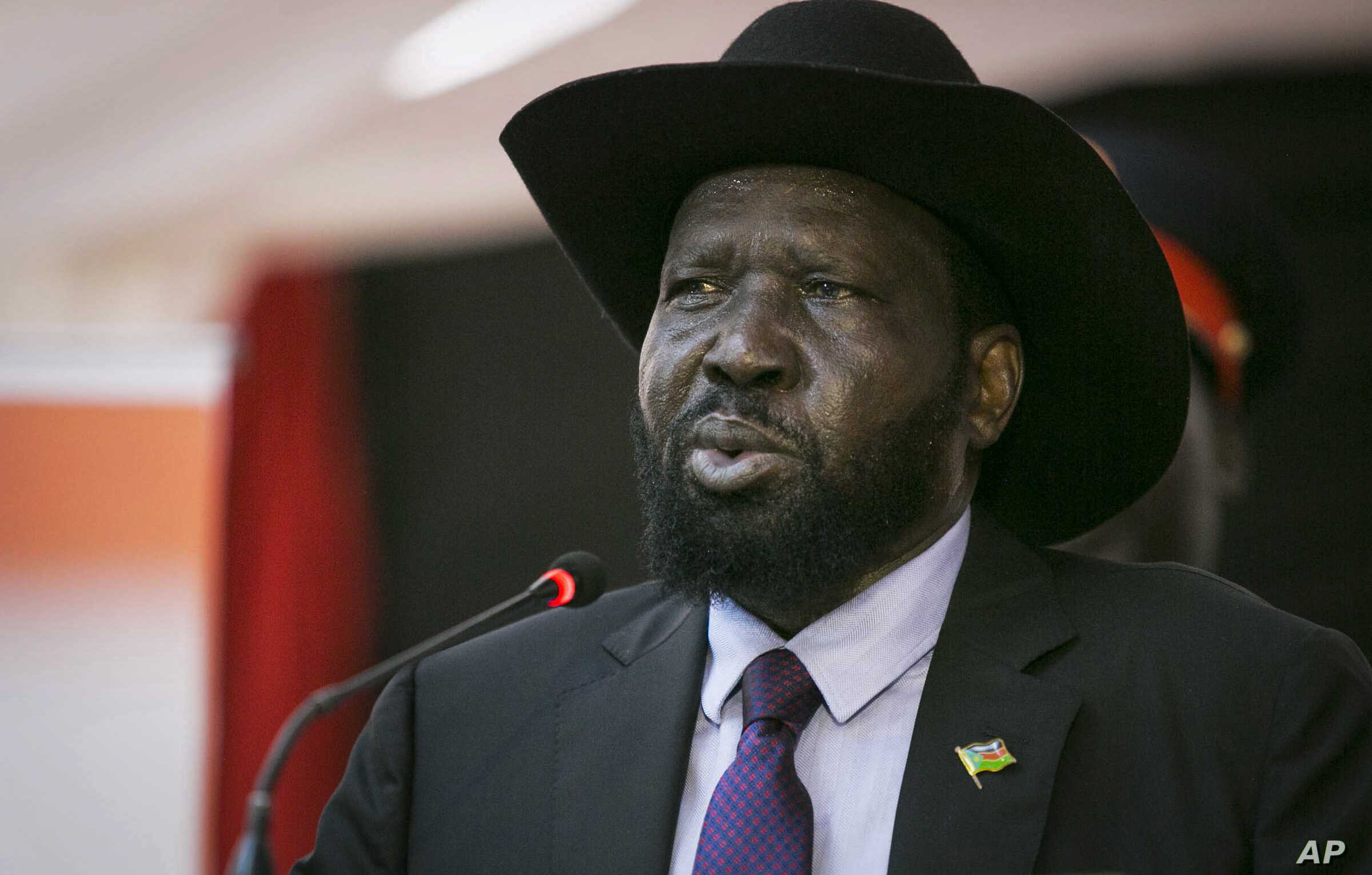 South Sudan's President Salva Kiir speaks at a special party conference in Juba, South Sudan Thursday, May 3, 2018.