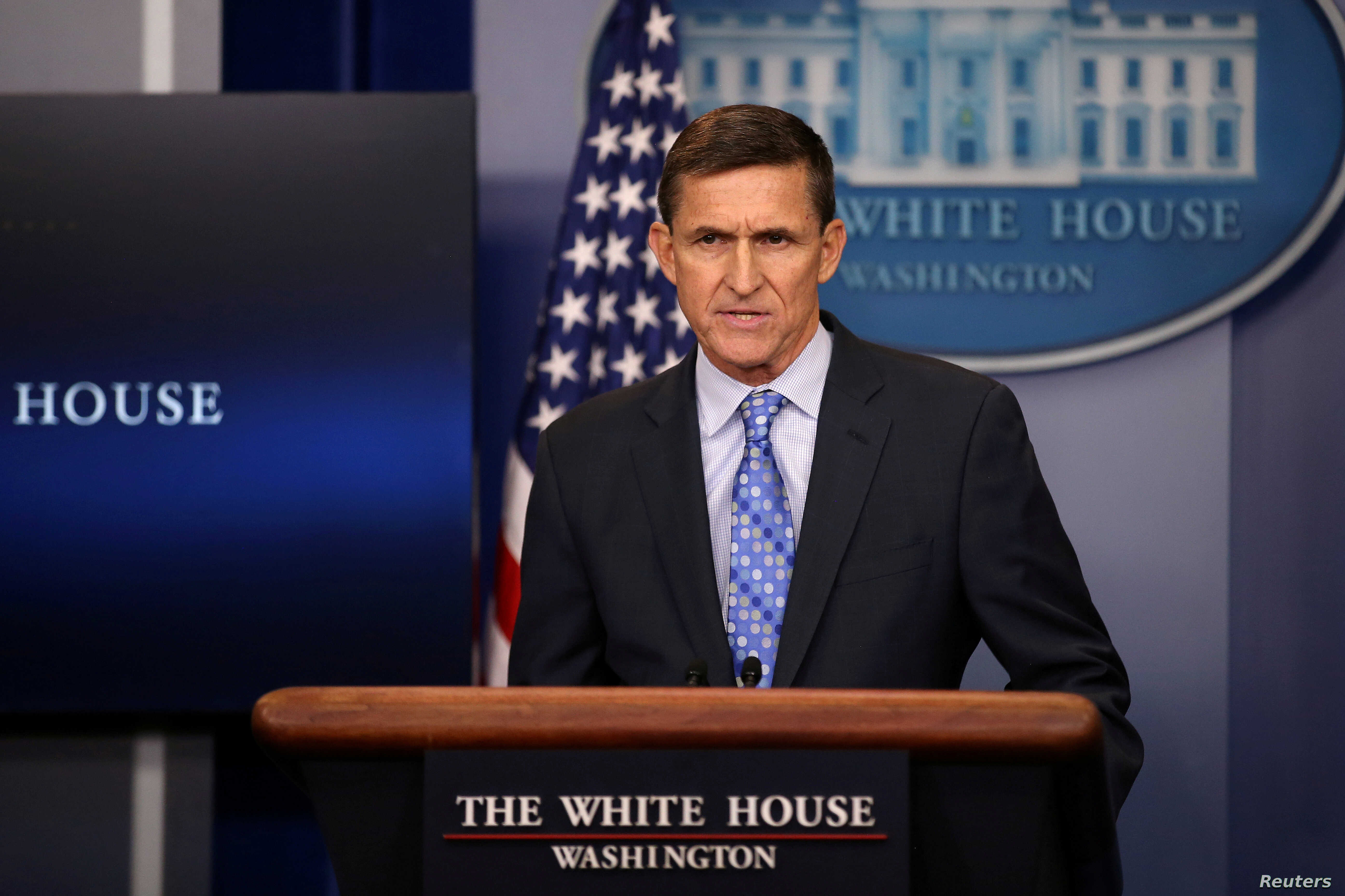 National security adviser General Michael Flynn delivers a statement daily briefing at the White House in Washington, Feb. 1, 2017.