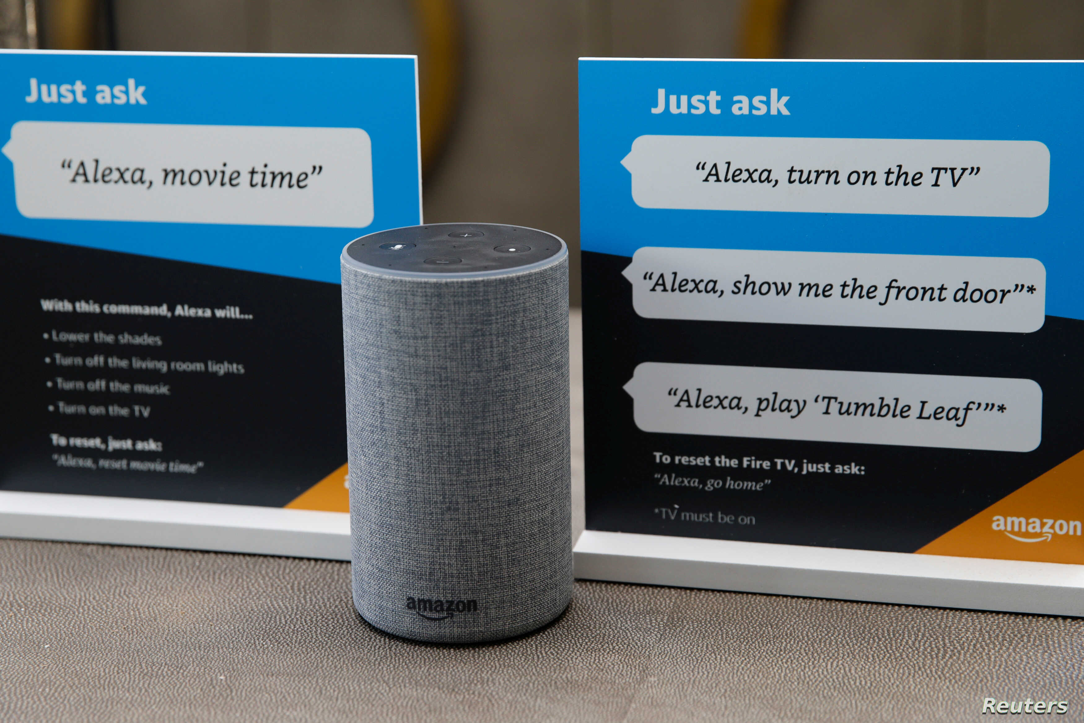 FILE - Prompts on how to use Amazon's Alexa personal assistant are seen in an Amazon 'experience center' in Vallejo, California, U.S., May 8, 2018.