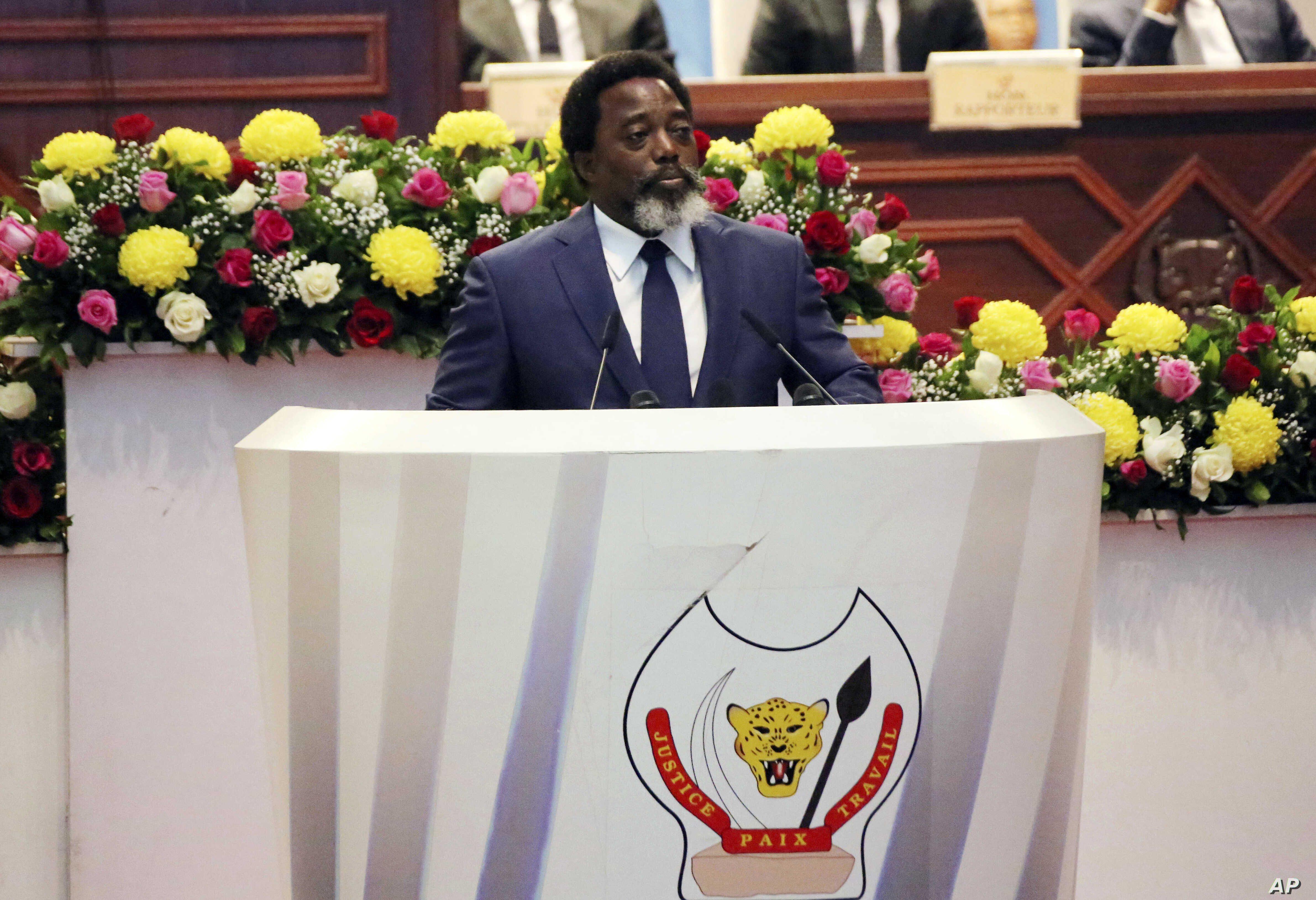 Congo's President Joseph Kabila, seen in this July 19, 2018 file photo, has said he will support former Interior Minister Emmanuel Ramazani Shadary in the upcoming presidential election.