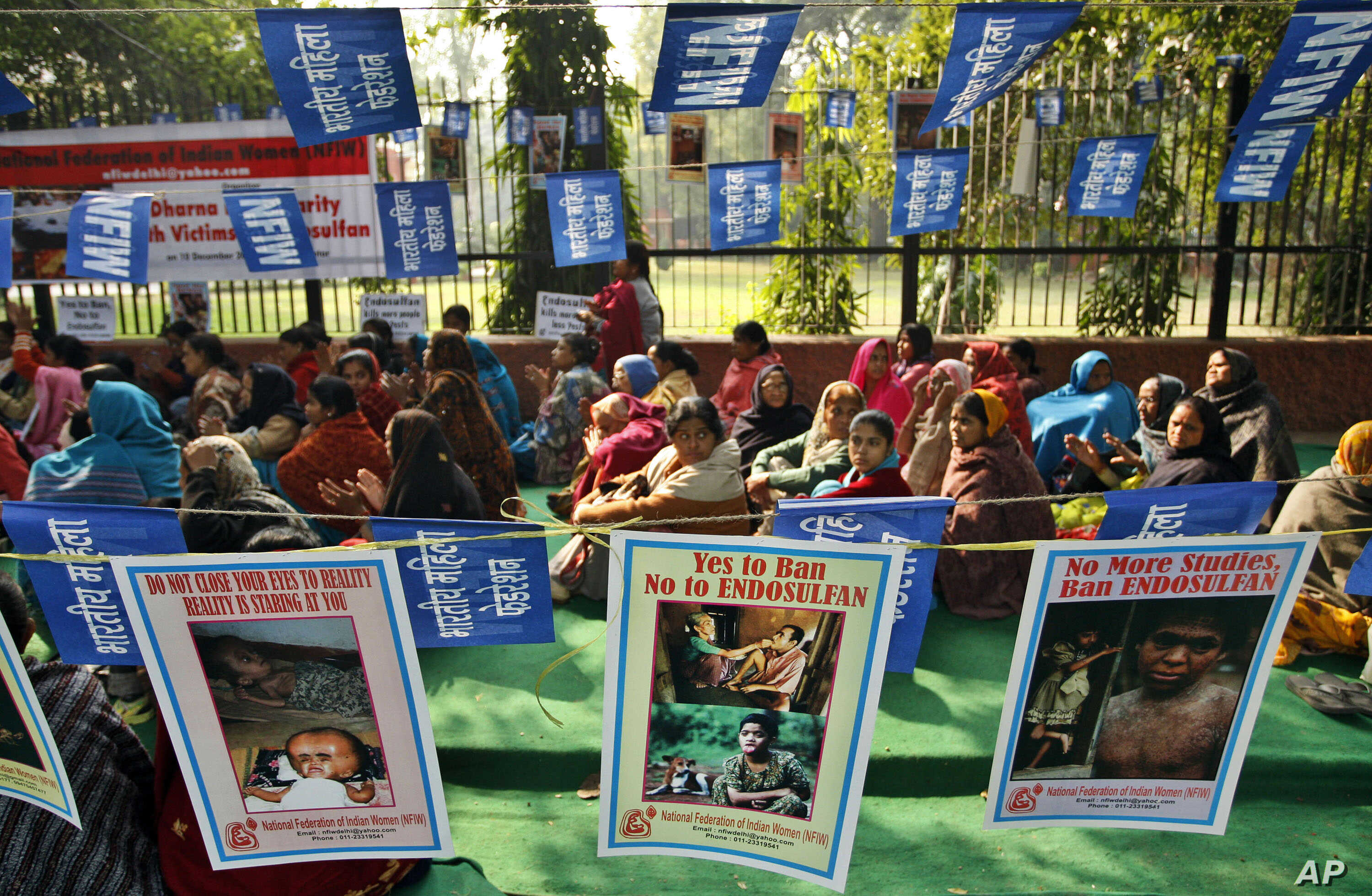 FILE - Activists of the National Federation of Indian Women sit near posters demanding the ban of endosulfan at a protest in New Delhi, India, Dec. 10, 2010.