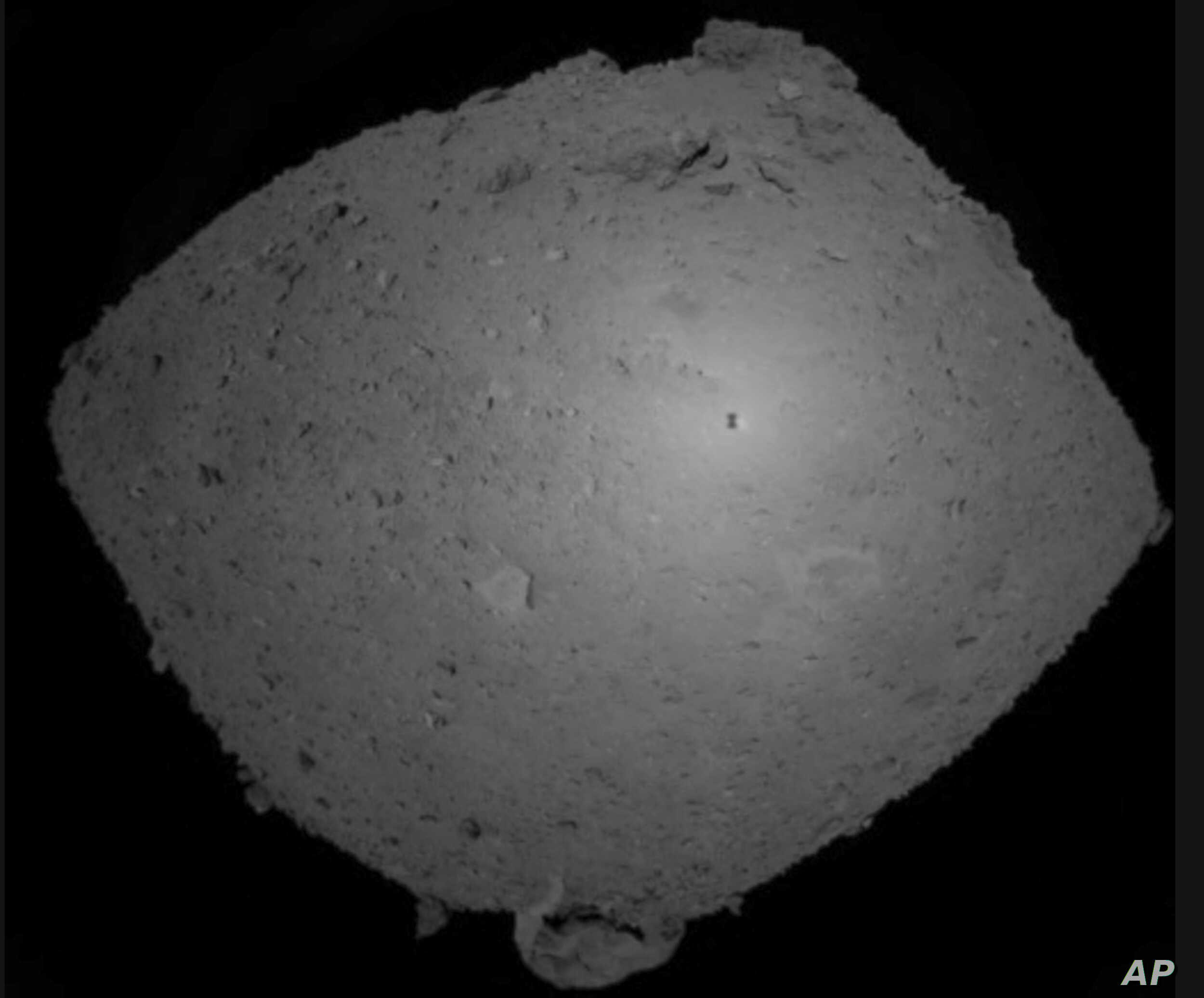 This Oct. 25, 2018, image provided by the Japan Aerospace Exploration Agency (JAXA) shows asteroid Ryugu.